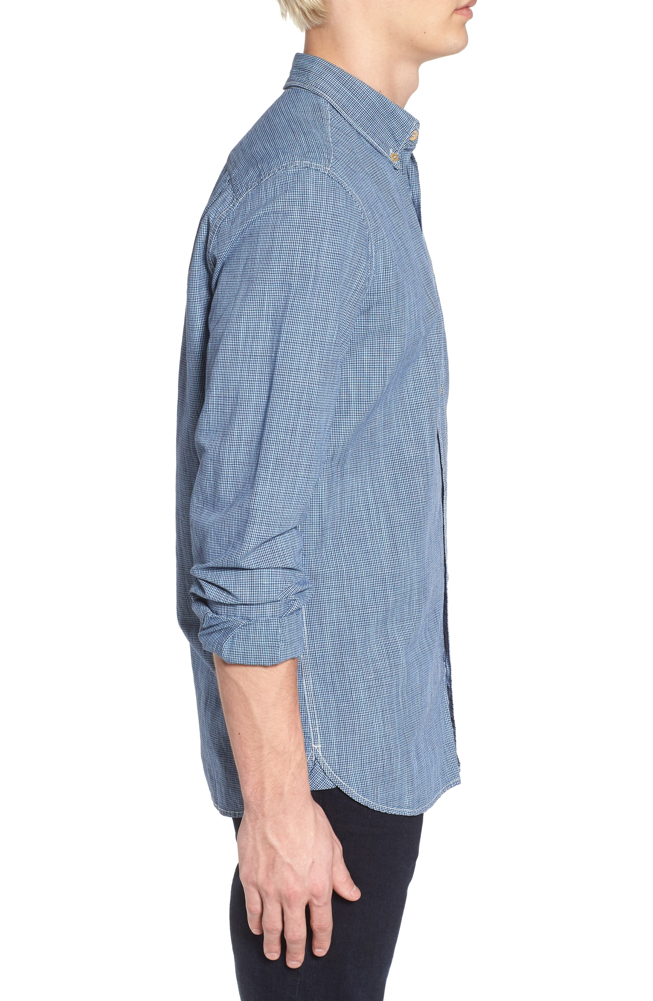 Alternate Image 3  - French Connection Slim Fit Check Cotton & Linen Sport Shirt