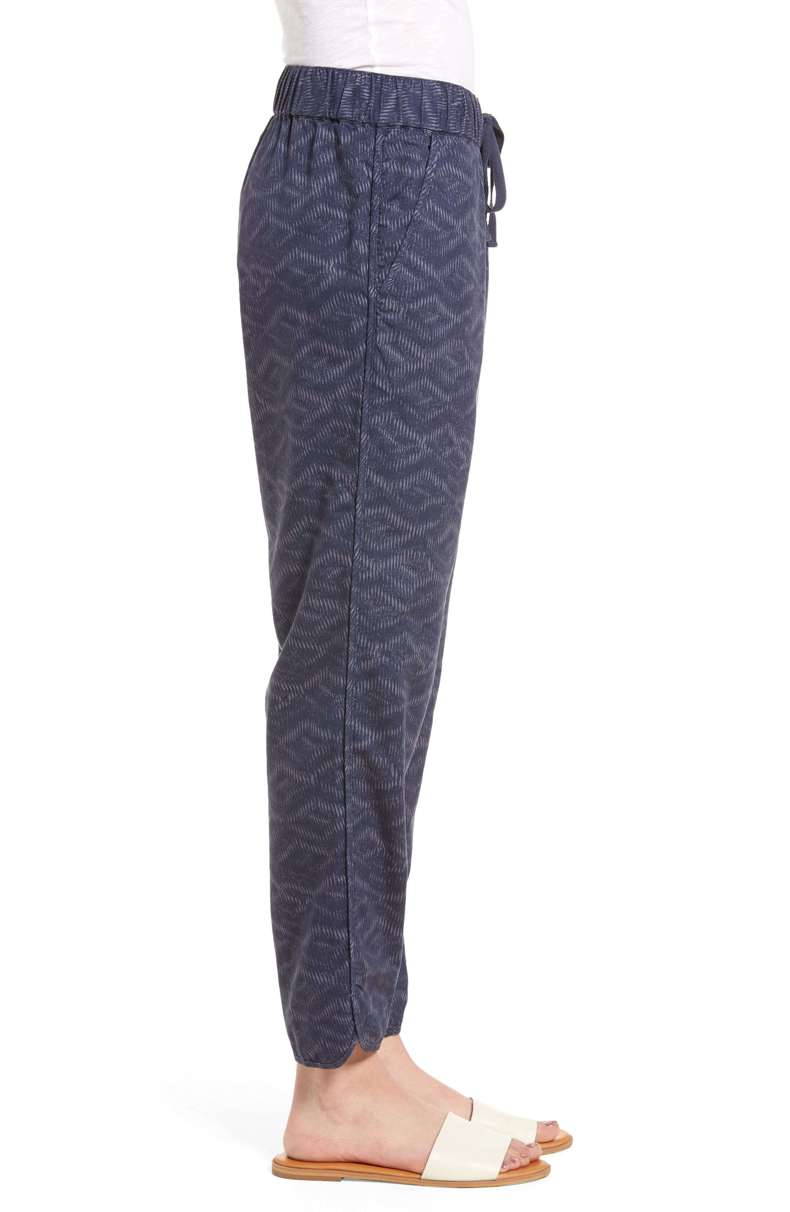 Pattern Cotton Blend Drawstring Pants,                             Alternate thumbnail 3, color,                             Navy Ikat Diamonds