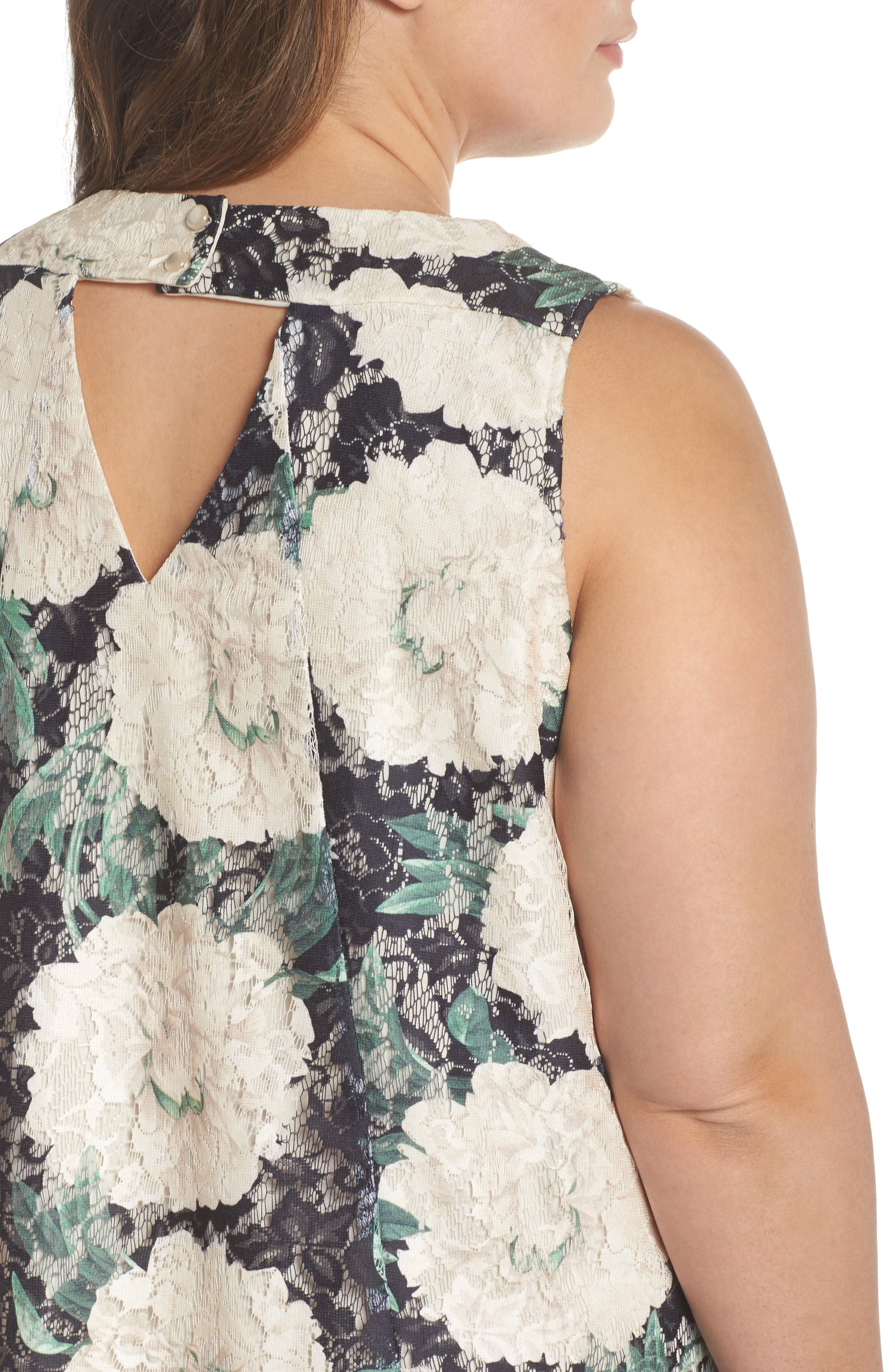 Print Lace Trapeze Dress,                             Alternate thumbnail 4, color,                             Black/ Sage