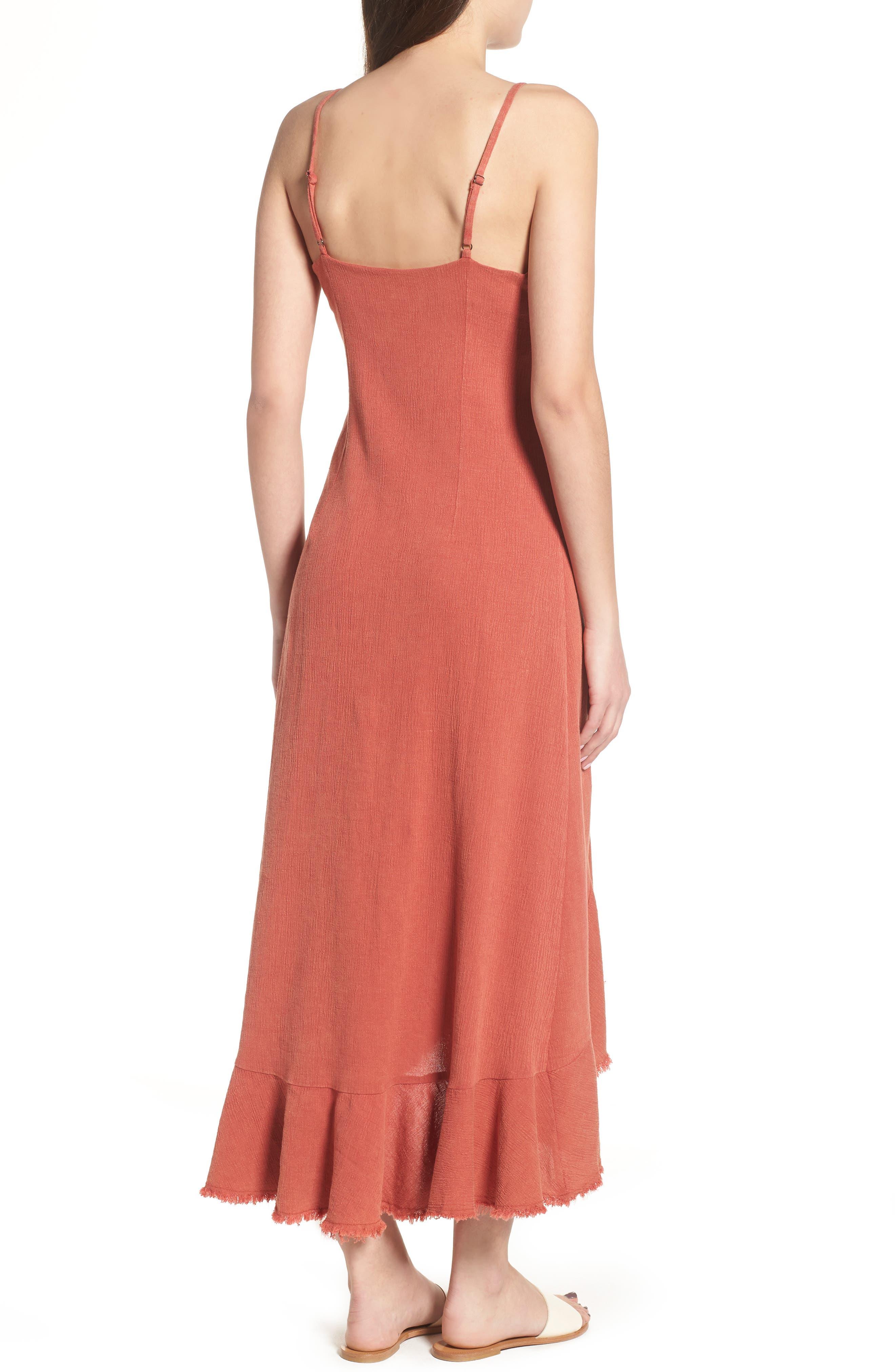 Meet Me in Dreams Flutter Hem Dress,                             Alternate thumbnail 3, color,                             Burnt Orange