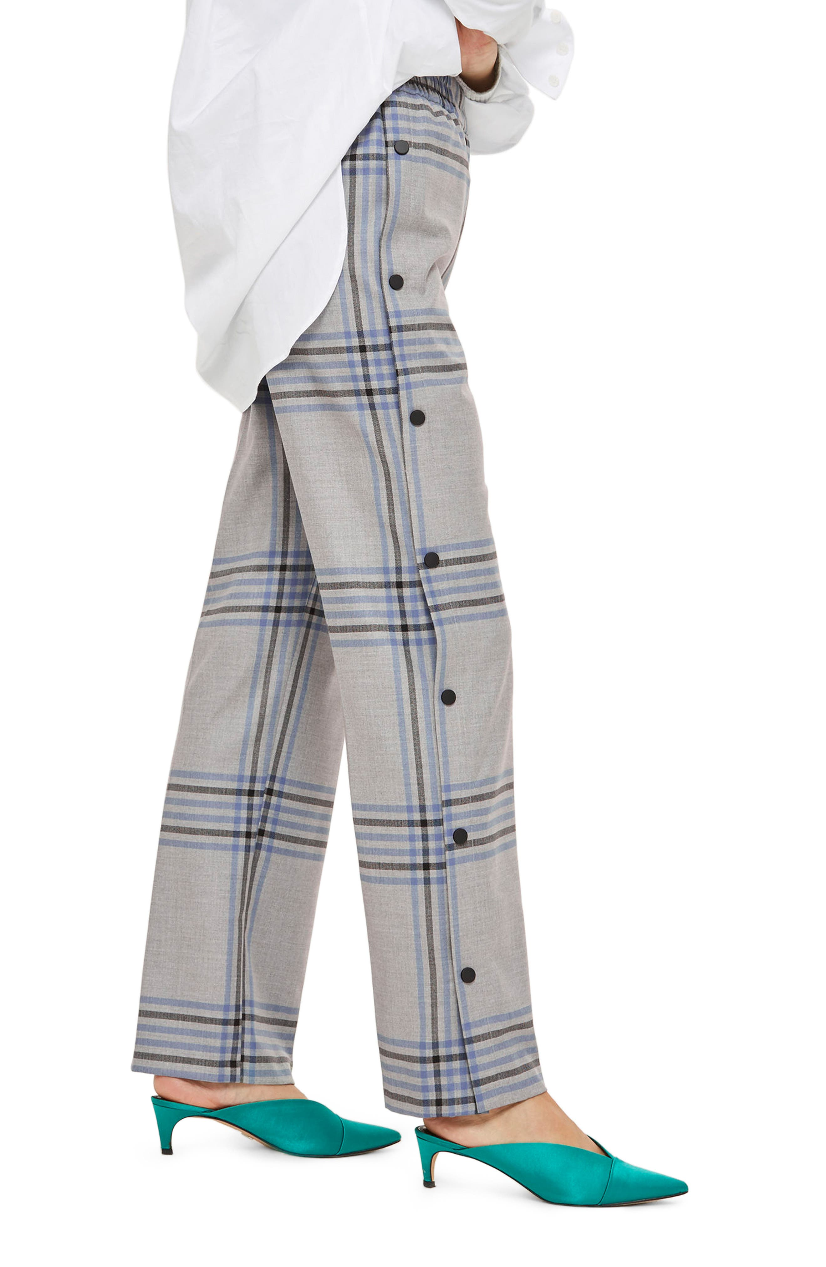 Plaid Popper Wide Leg Trousers,                             Alternate thumbnail 3, color,                             Grey Multi