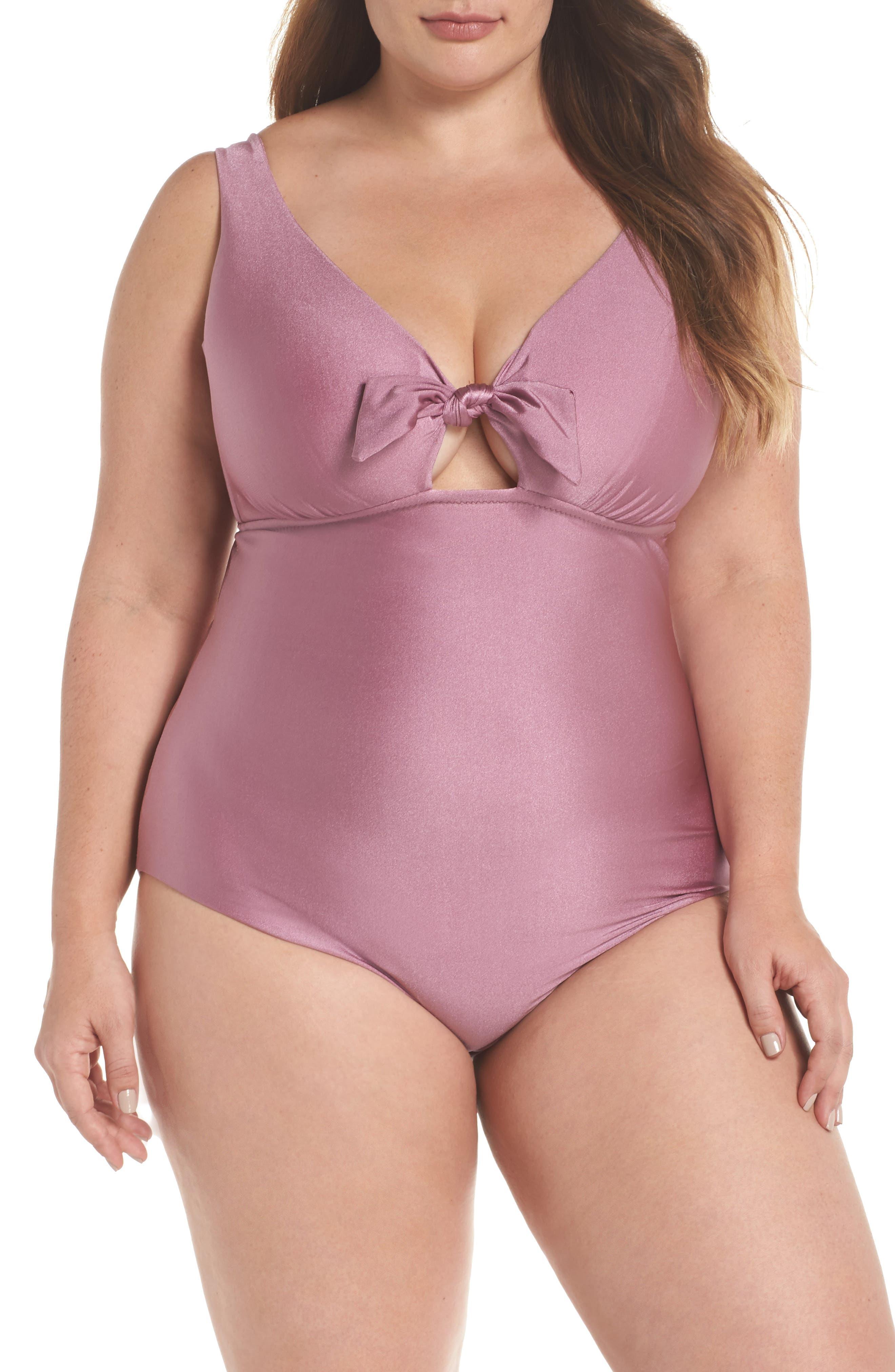 Ballerina One-Piece Swimsuit,                         Main,                         color, Mauve