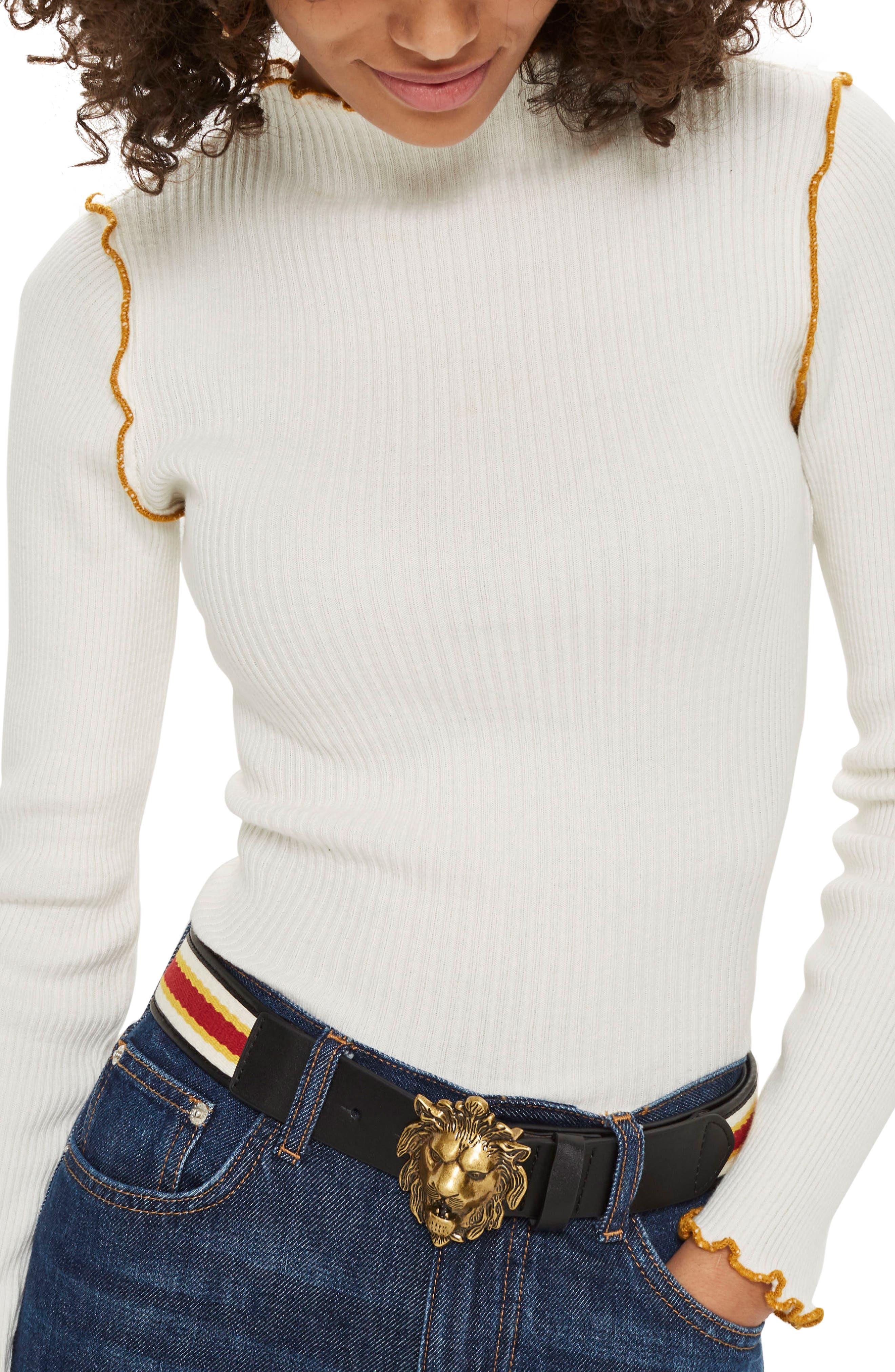 Lion Head Belt,                         Main,                         color, Black Multi