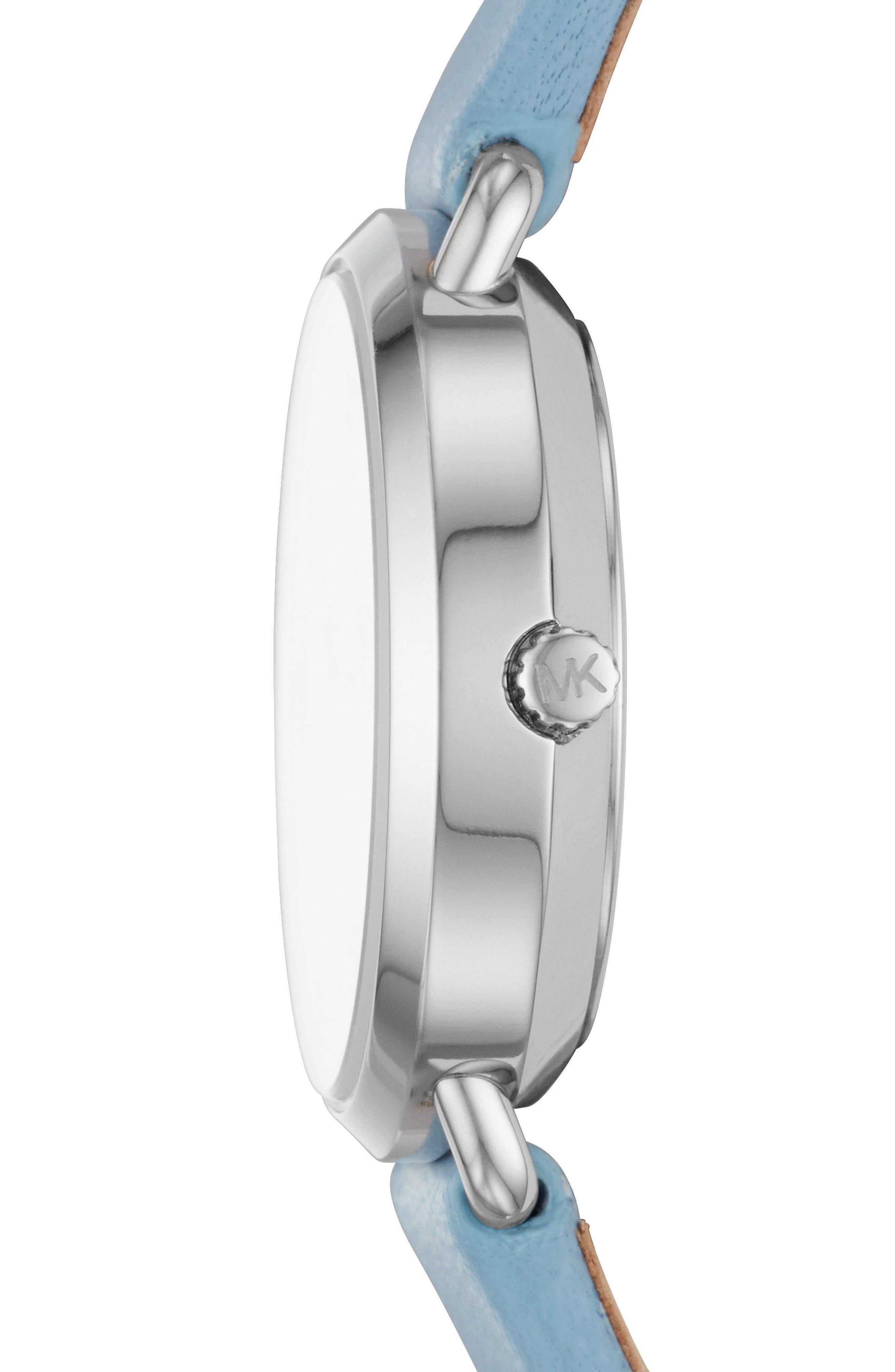 Mini Portia Leather Strap Watch, 28mm,                             Alternate thumbnail 2, color,                             Blue/ Silver
