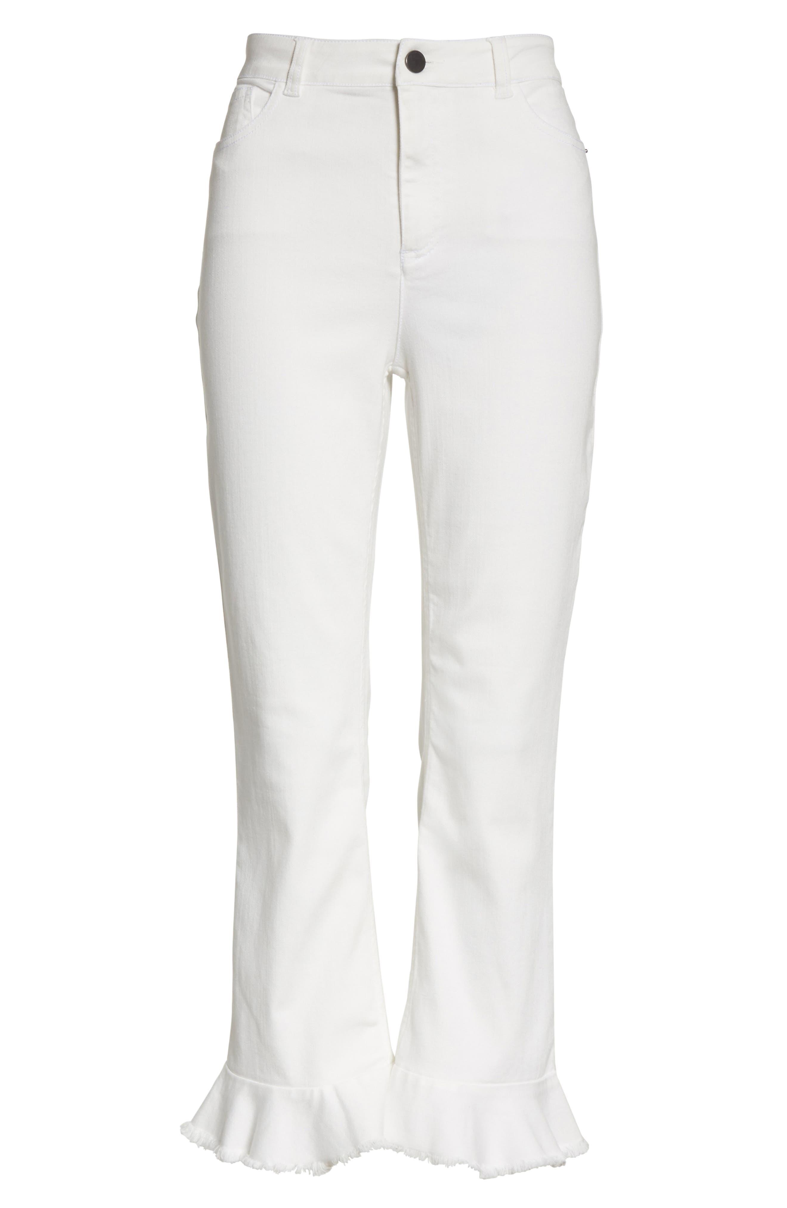 AO.LA Zoe Ruffle Hem Crop Jeans,                             Alternate thumbnail 6, color,                             White