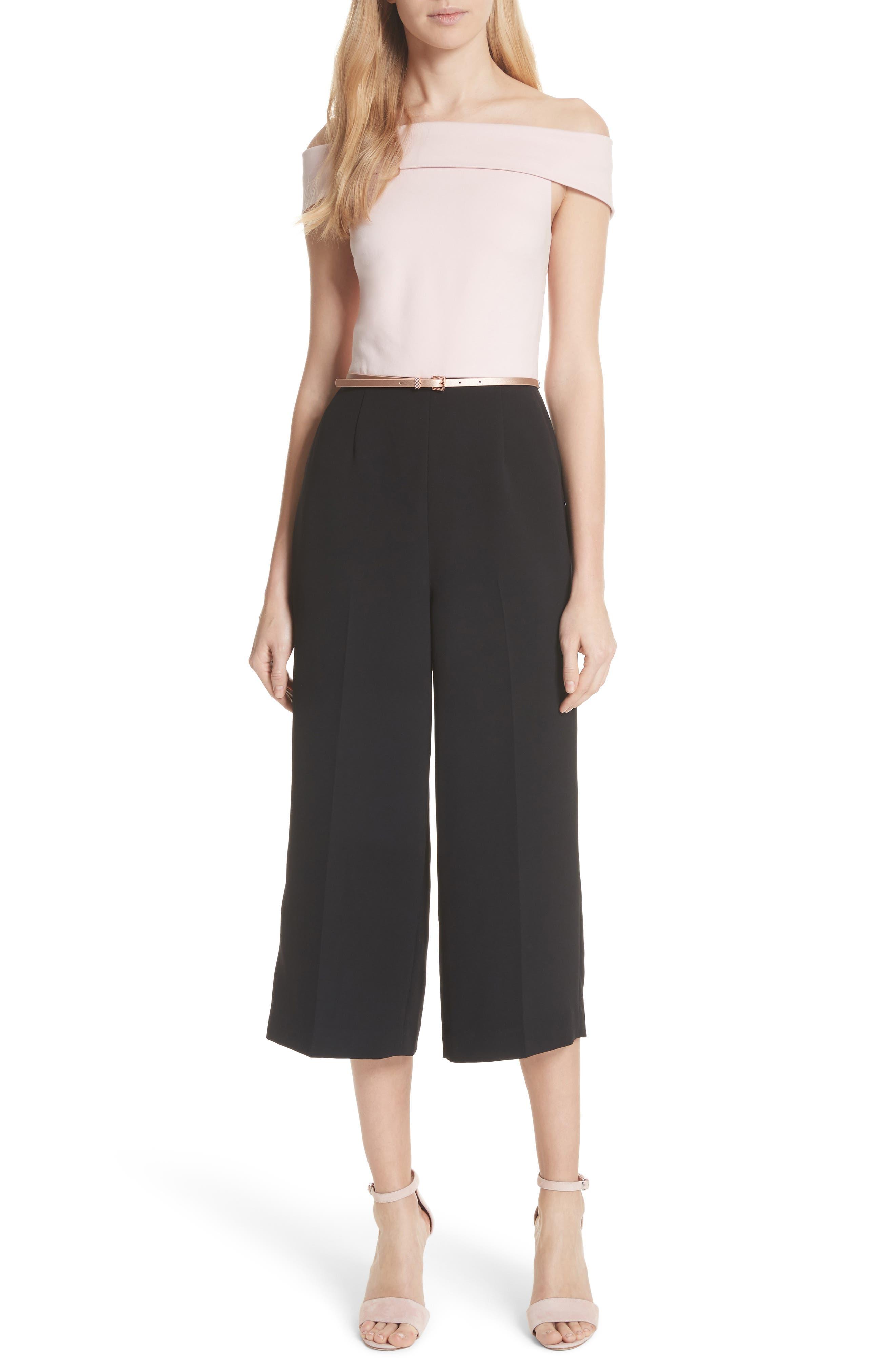 Off the Shoulder Crop Jumpsuit,                         Main,                         color, Black