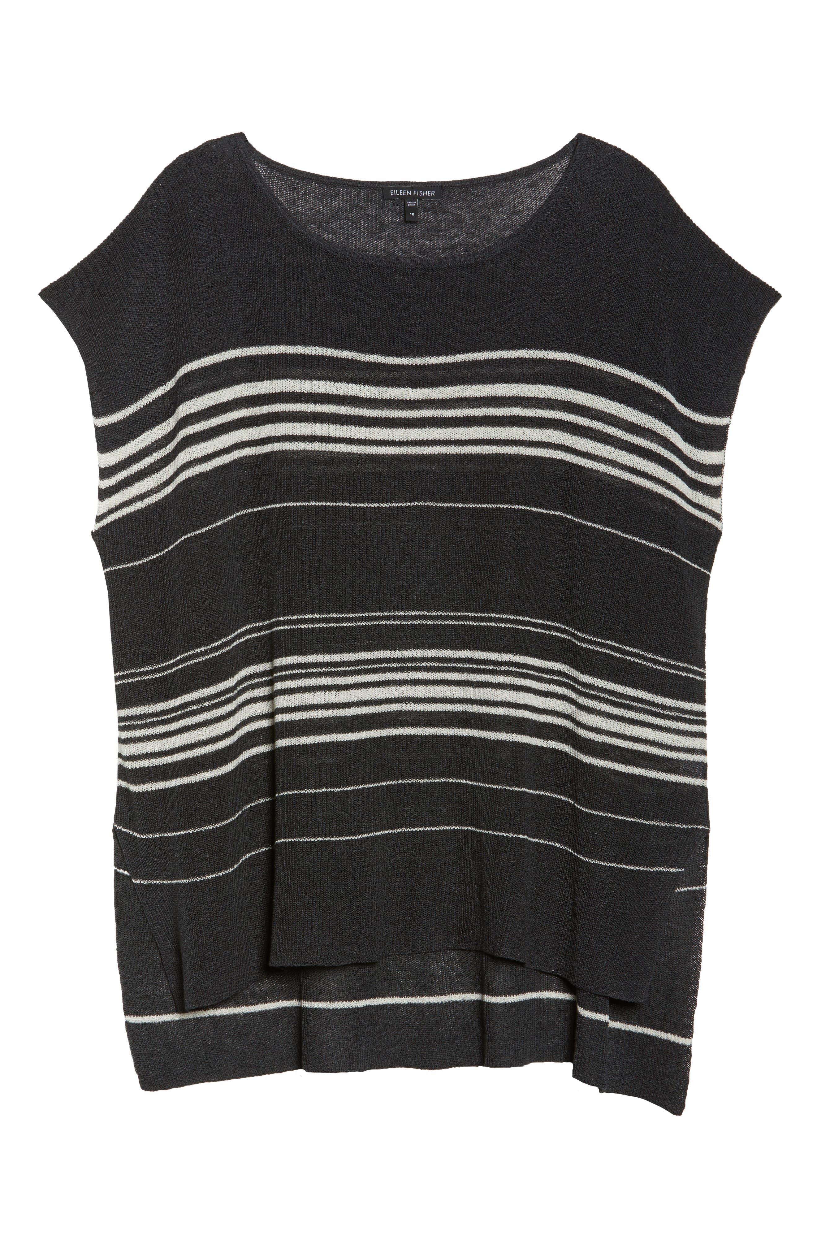 Stripe Organic Linen Blend Poncho,                             Alternate thumbnail 7, color,                             Graphite/ Bone