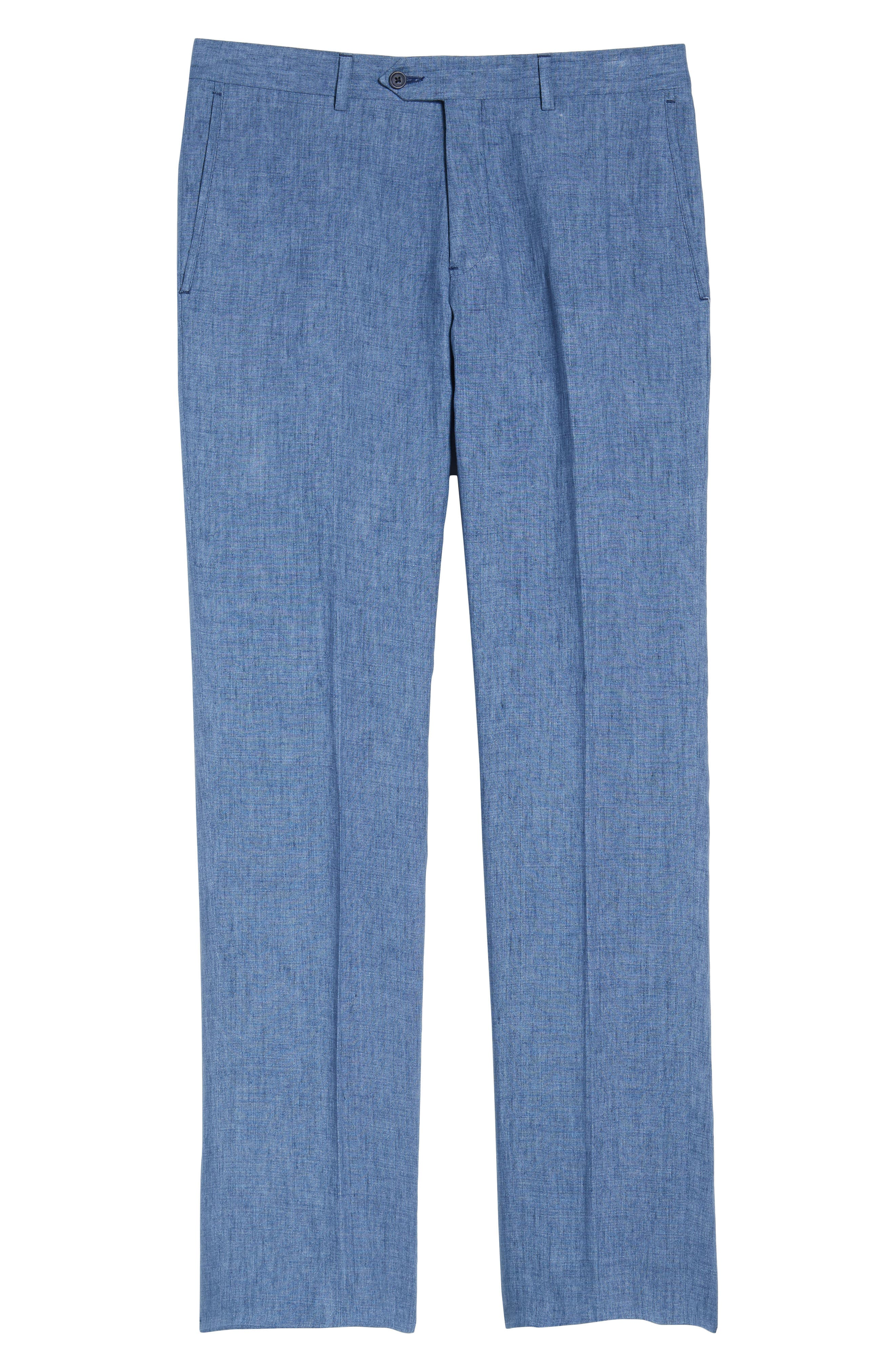 Flat Front Solid Linen Trousers,                             Alternate thumbnail 6, color,                             Blue Denim
