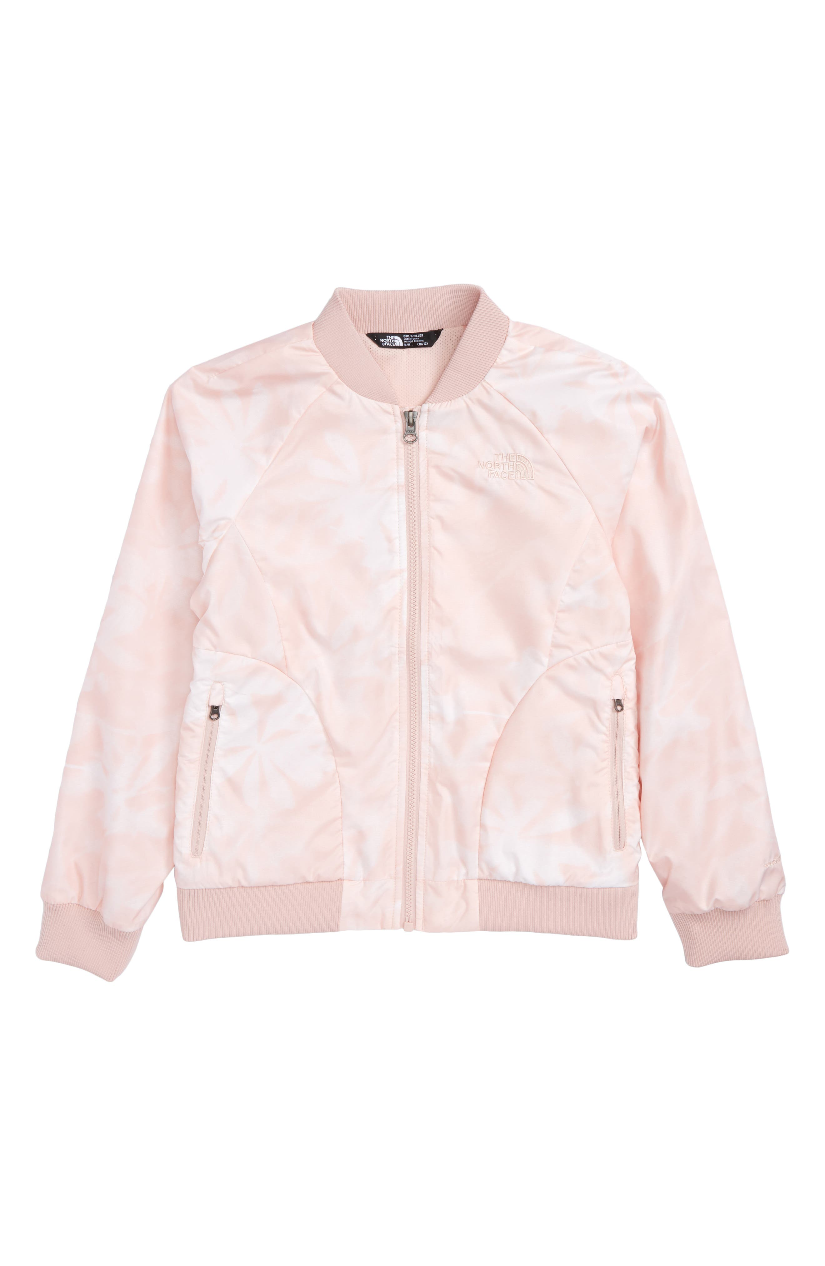 Flurry Windproof Bomber Jacket,                         Main,                         color, Evening Sand Pink Lupine Print