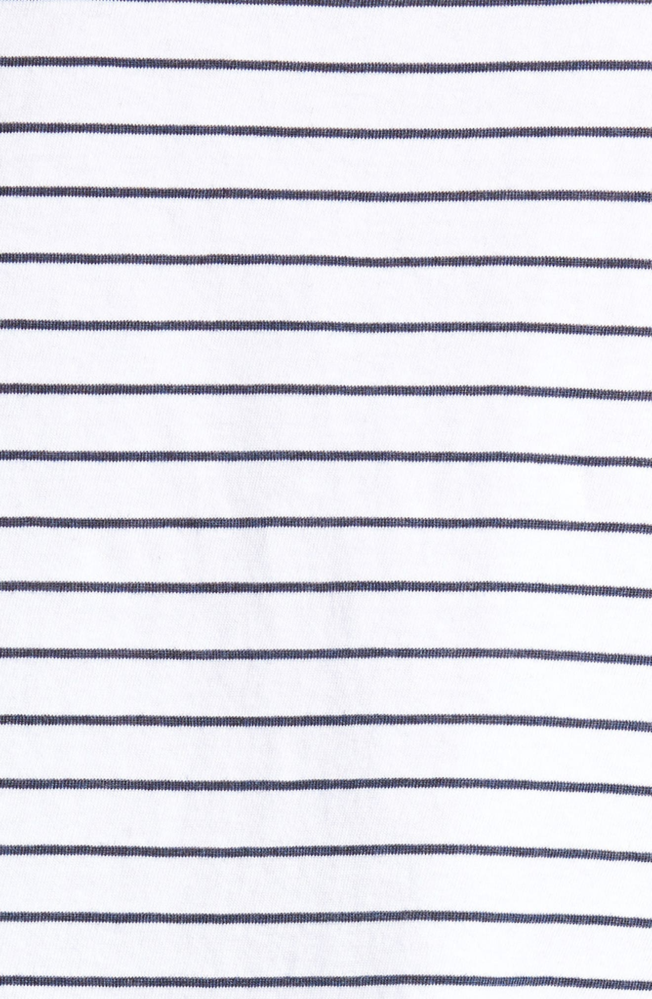 Stripe Ruffle Sleeve Tee,                             Alternate thumbnail 6, color,                             White/ Navy