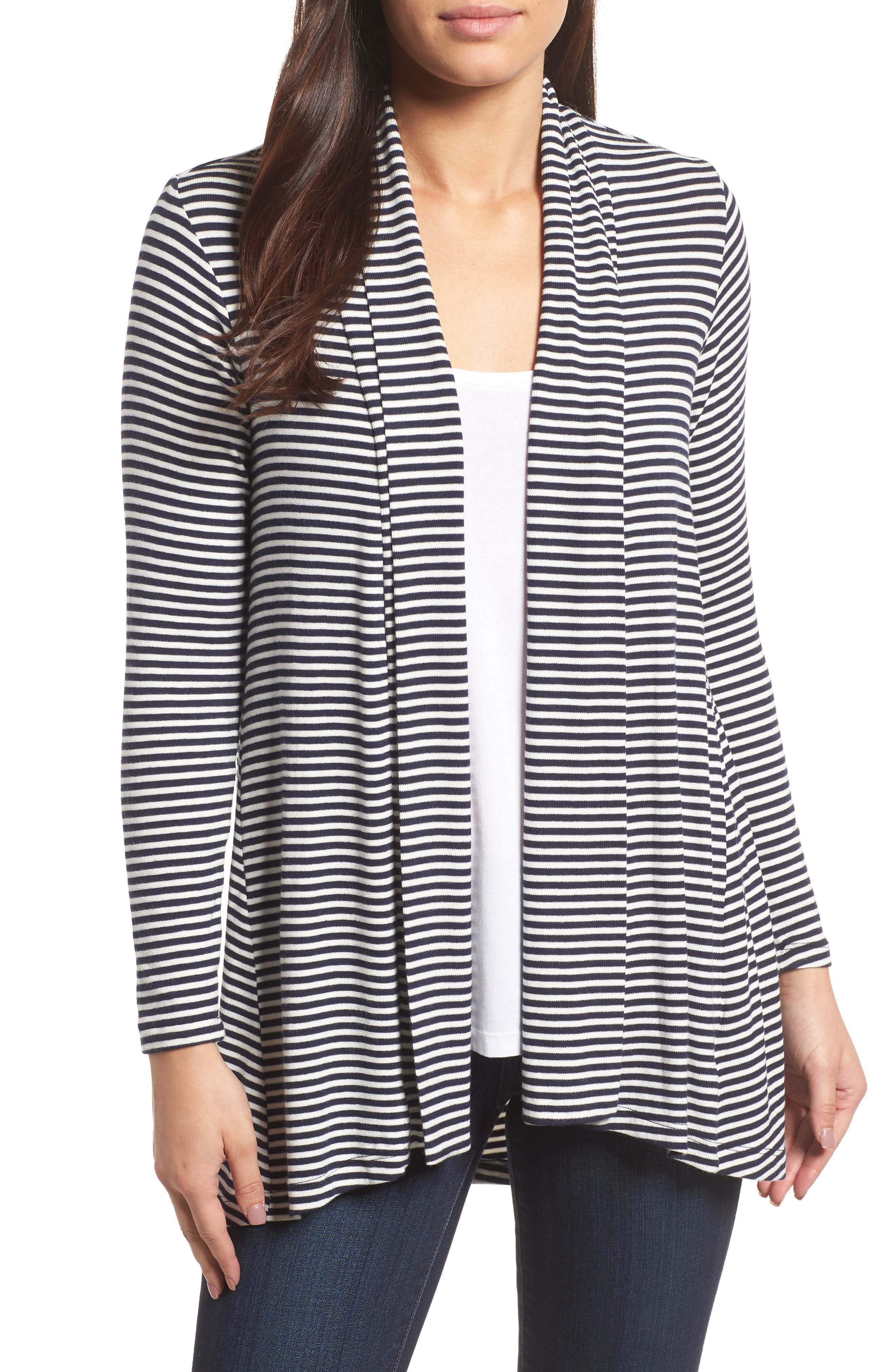 High/Low Jersey Cardigan,                         Main,                         color, Navy Ivory Stripe