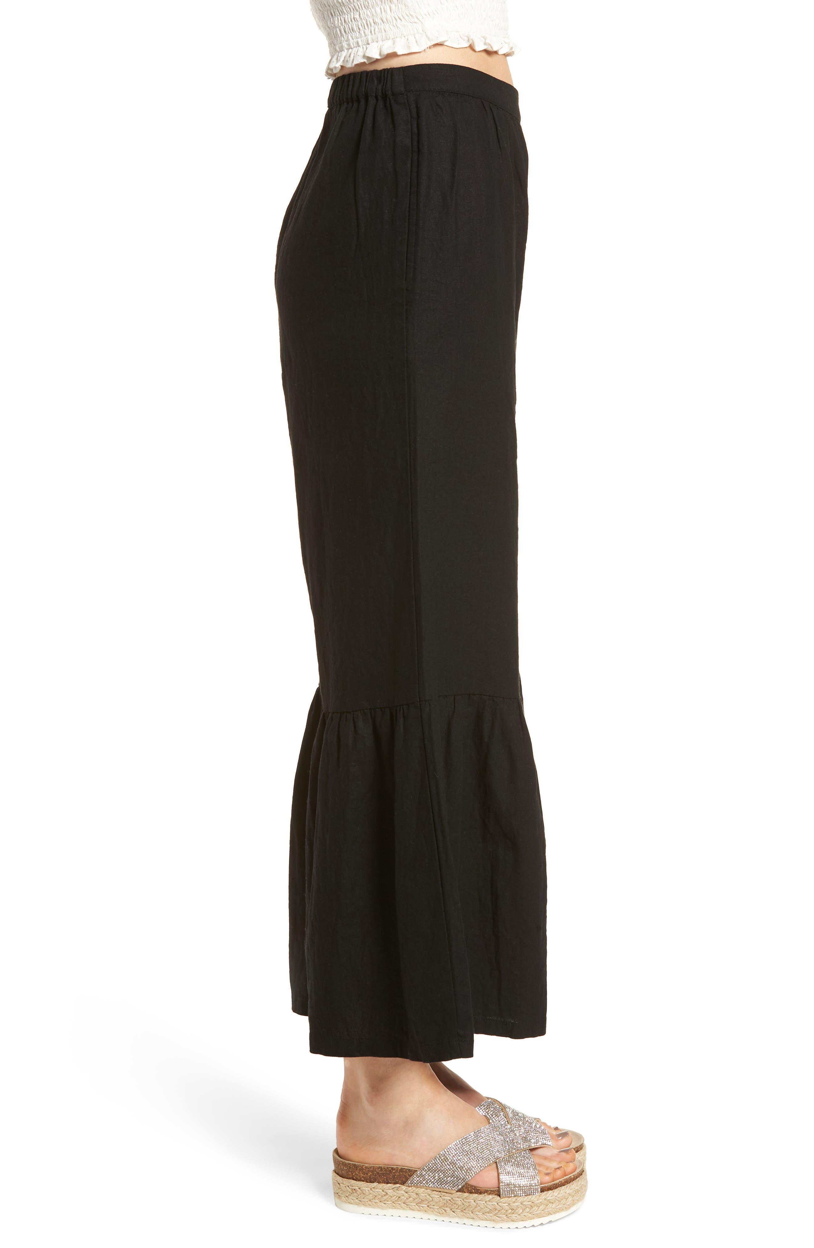 Alternate Image 3  - BP. Ruffle Hem Linen Blend Crop Pants