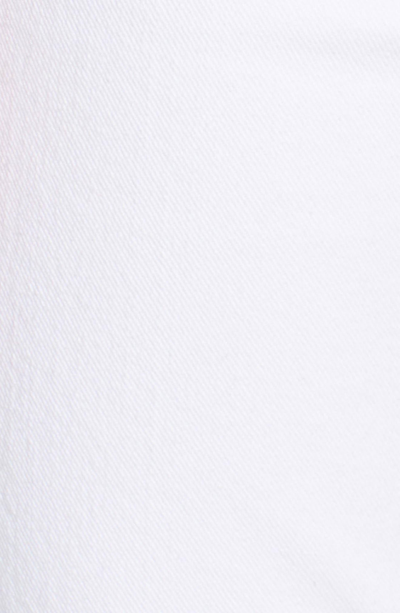 Dylan Print Cuff Straight Leg Jeans,                             Alternate thumbnail 6, color,                             White Fashion W/ Black Print