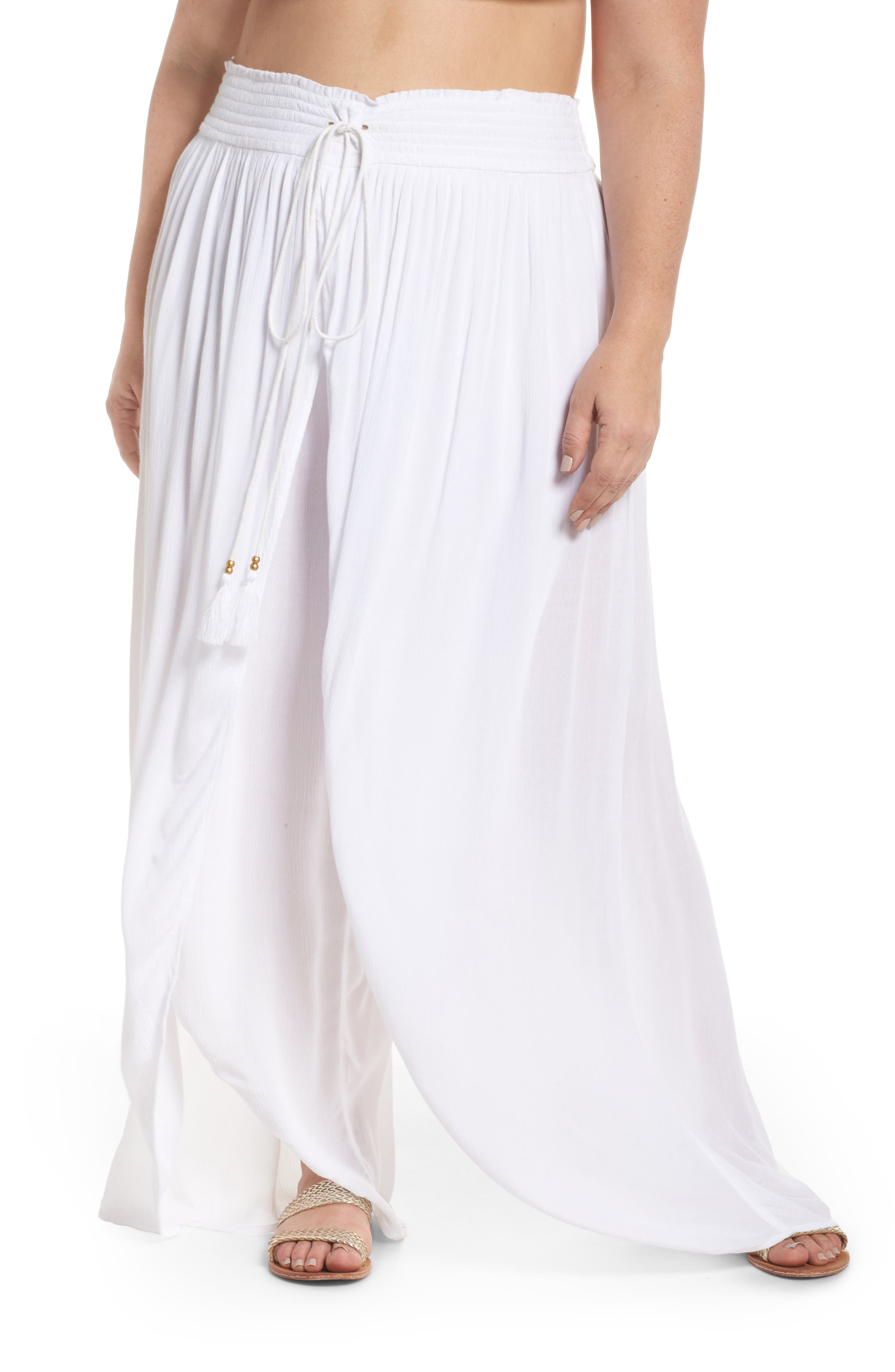 Gauze Cover-Up Pants,                             Main thumbnail 1, color,                             White