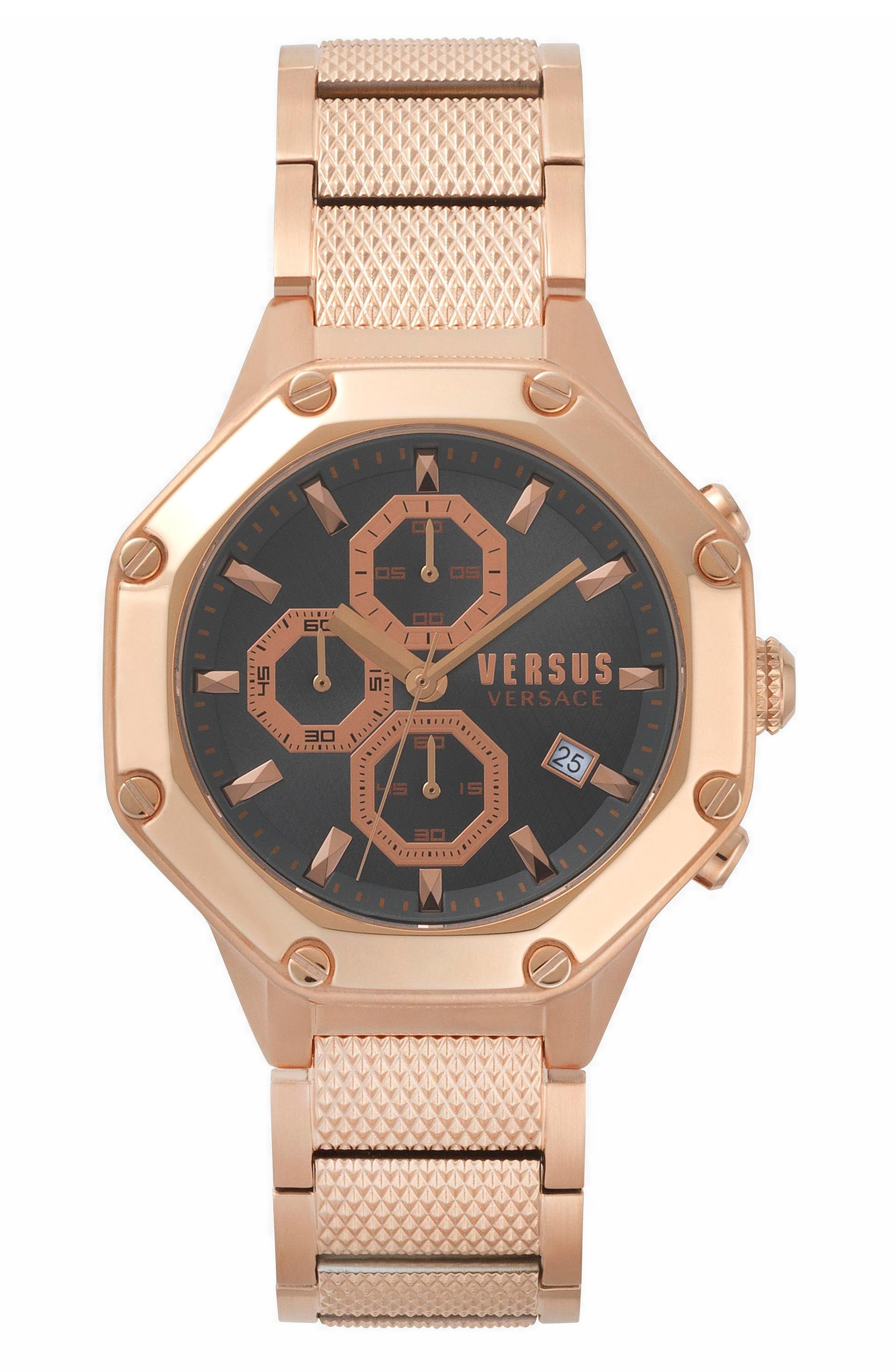 VERSUS by Versace Kowloon Chronograph Bracelet Watch, 45mm,                             Main thumbnail 1, color,                             Rose Gold/ Grey