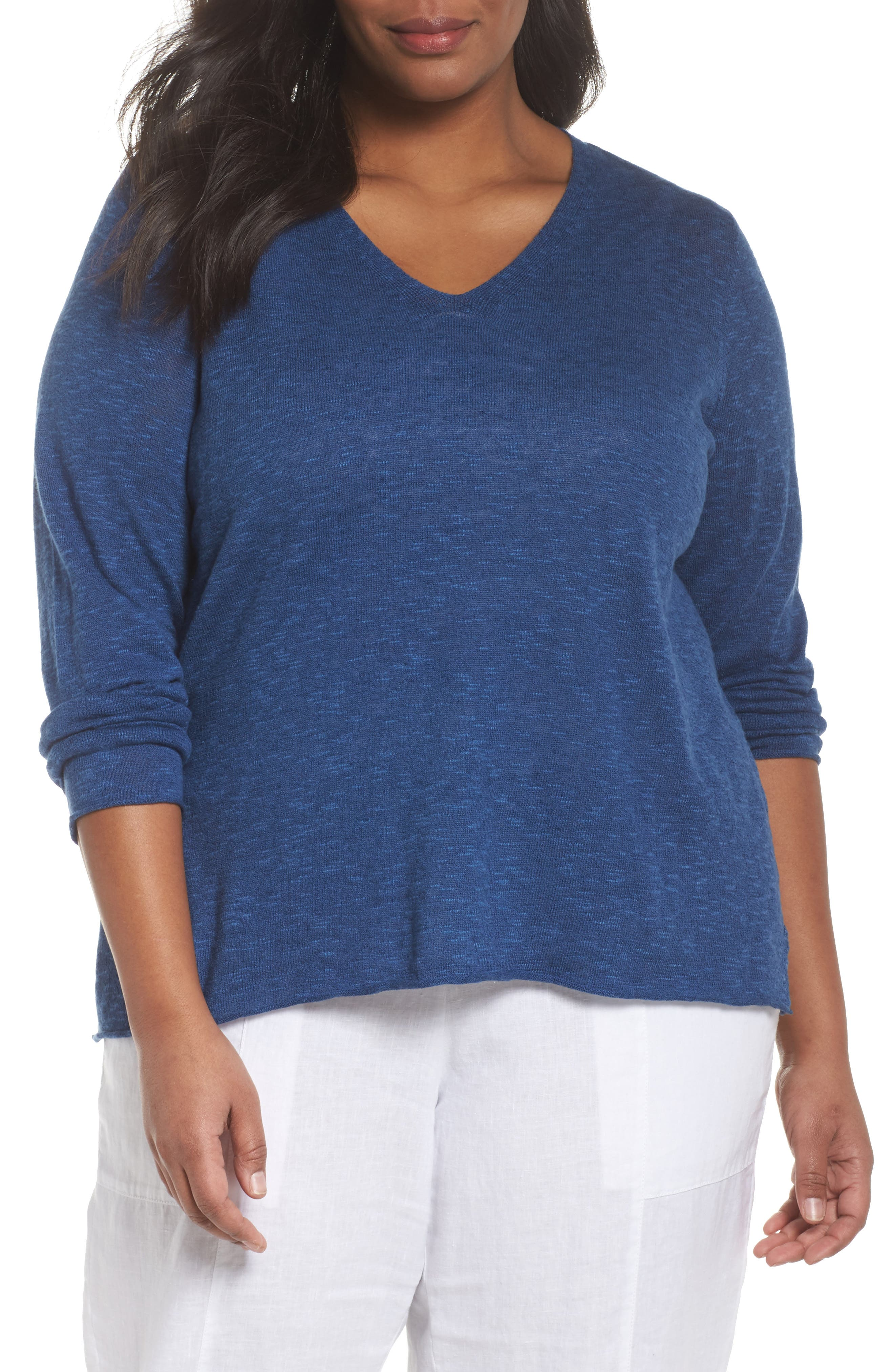 Eileen Fisher Boxy Organic Linen & Cotton Sweater (Plus Size)