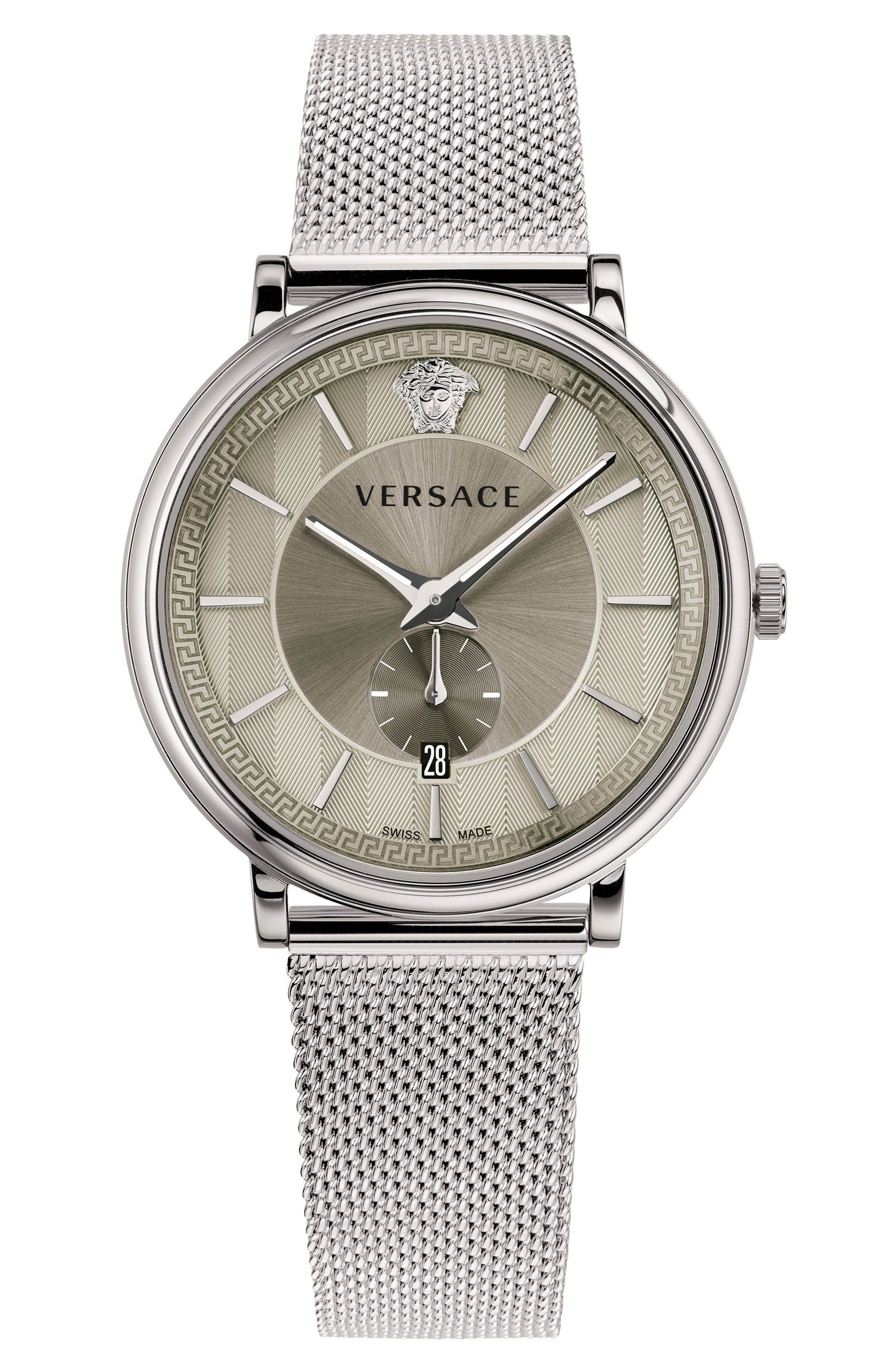 Manifesto Mesh Strap Watch, 42mm,                         Main,                         color, Silver