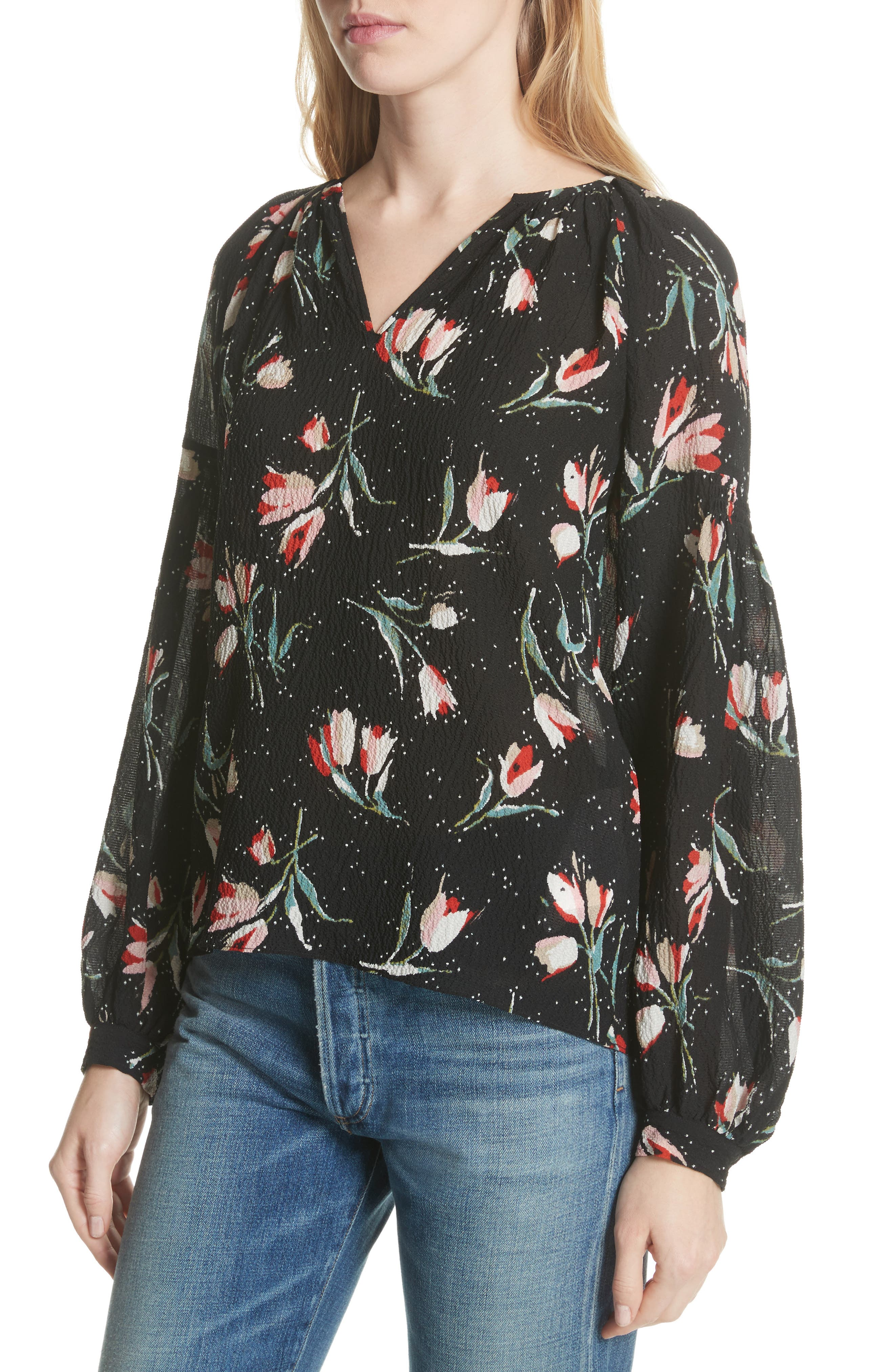 Stretch Silk Floral Top,                             Alternate thumbnail 4, color,                             Black Combo