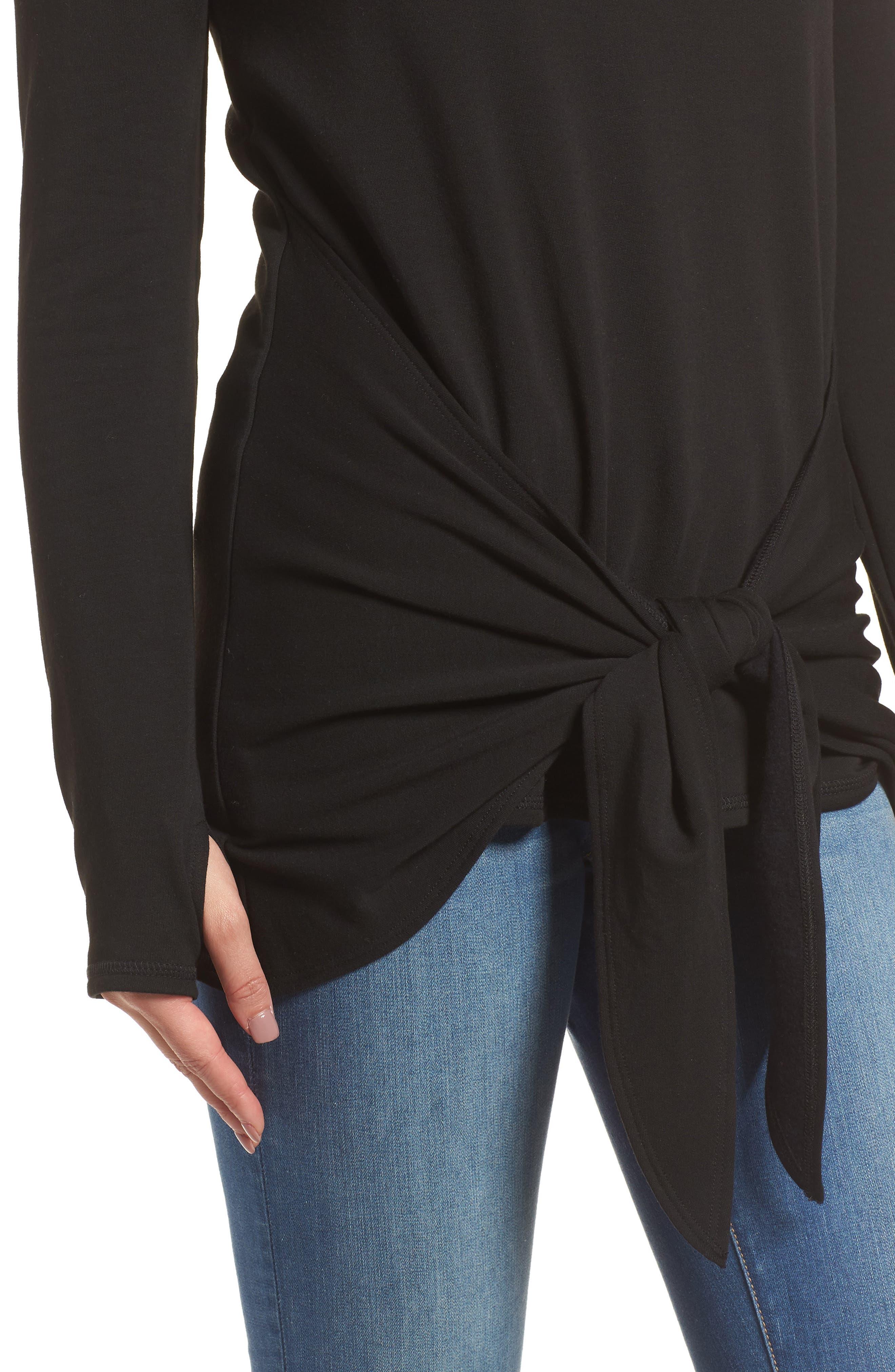Off-Duty Tie Front Sweatshirt,                             Alternate thumbnail 4, color,                             Black