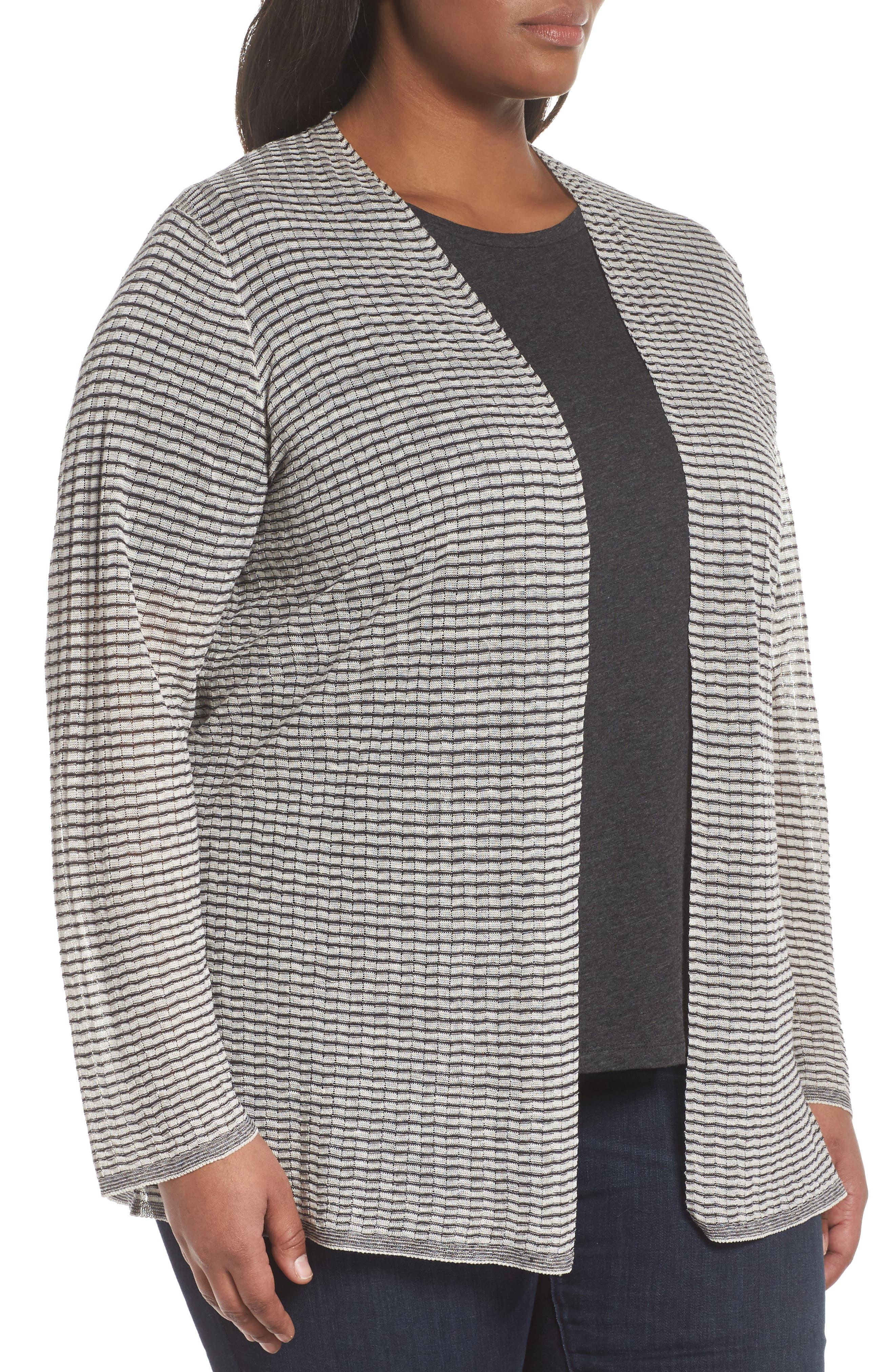 Simple Stripe Linen Blend Cardigan,                             Alternate thumbnail 3, color,                             Graphite/ Bone