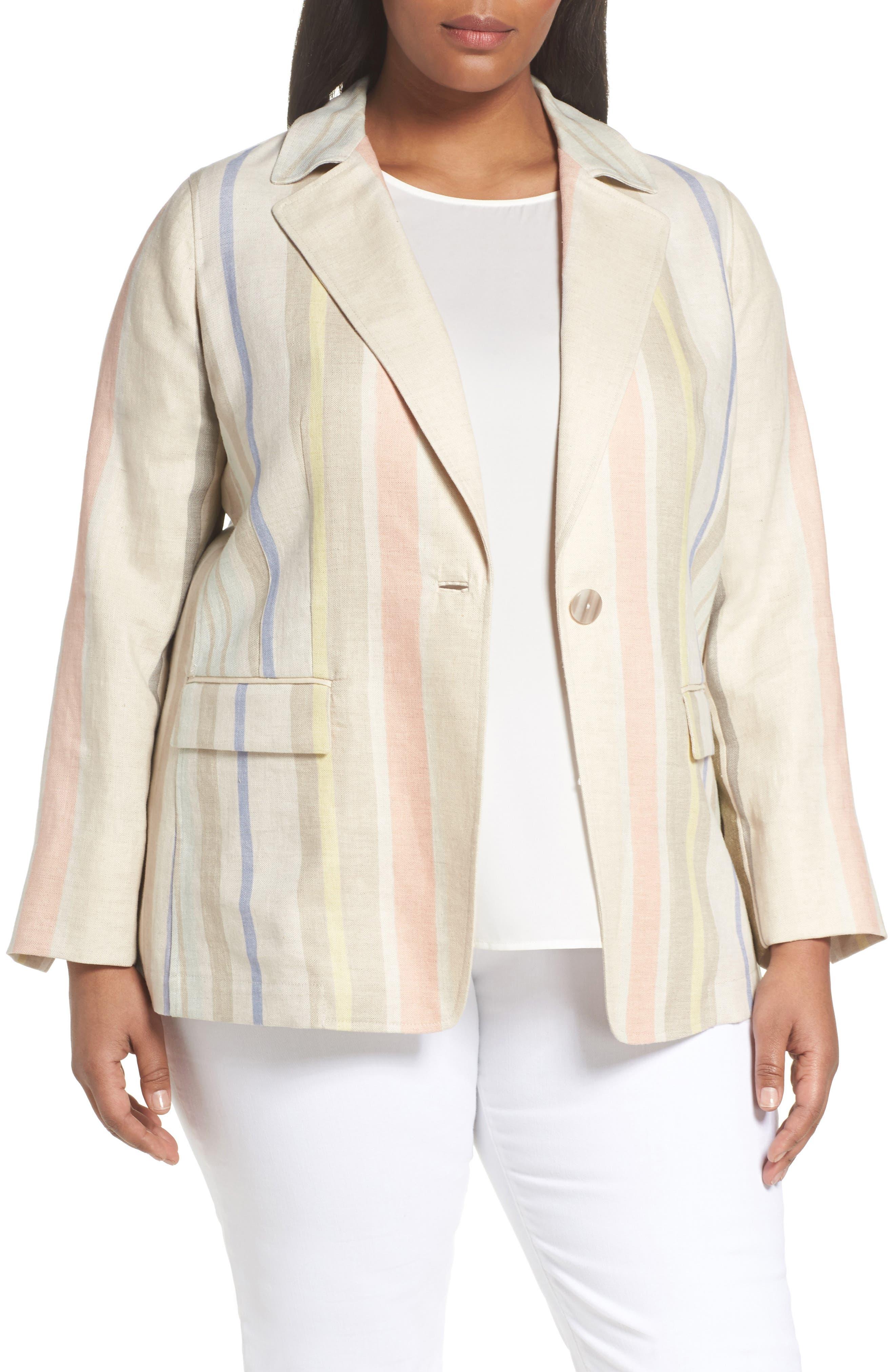 Marie Stripe Linen Jacket,                             Main thumbnail 1, color,                             Raffia Multi