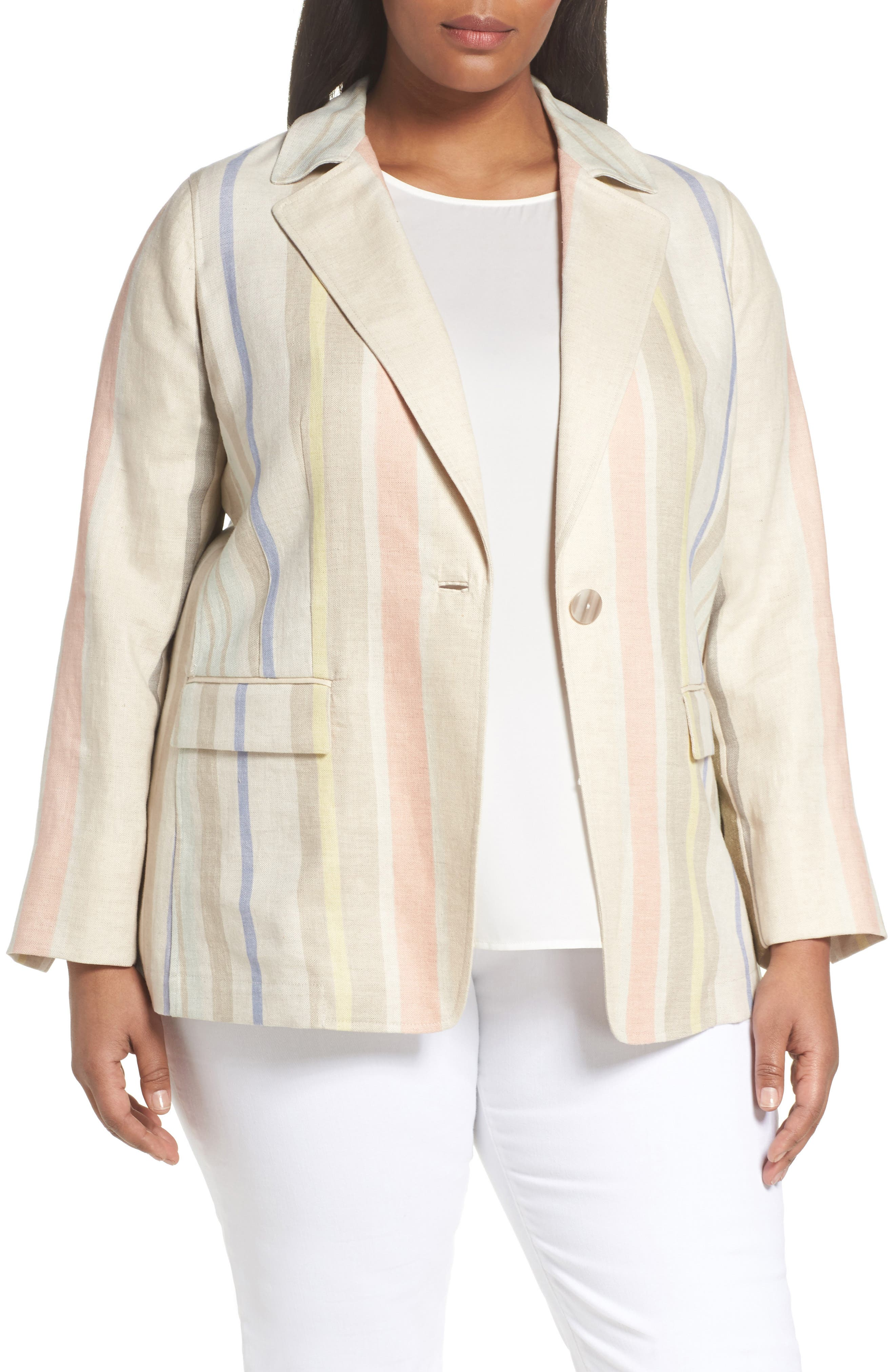Marie Stripe Linen Jacket,                         Main,                         color, Raffia Multi