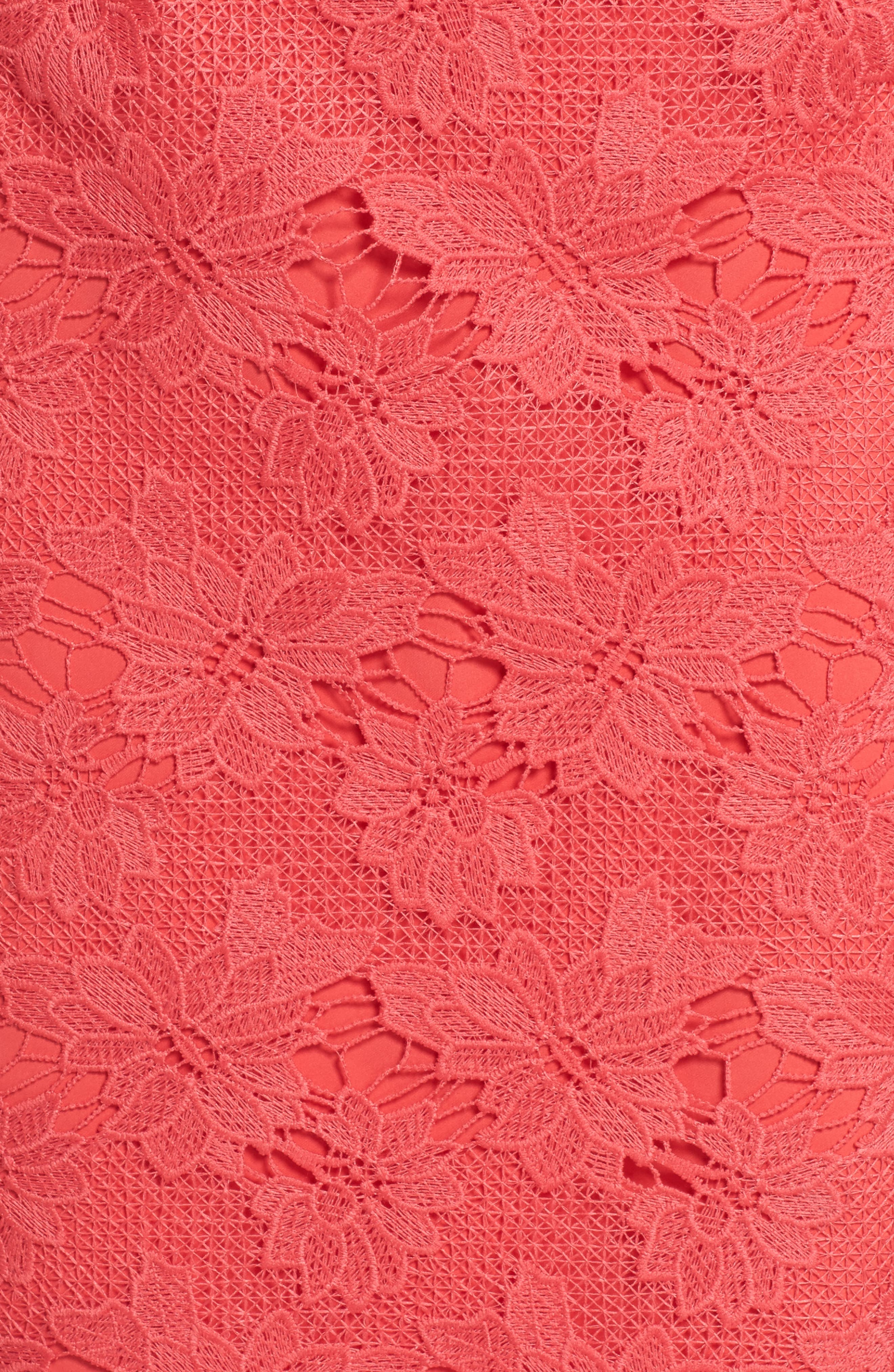 Poppy Off the Shoulder Lace Dress,                             Alternate thumbnail 5, color,                             Poppy