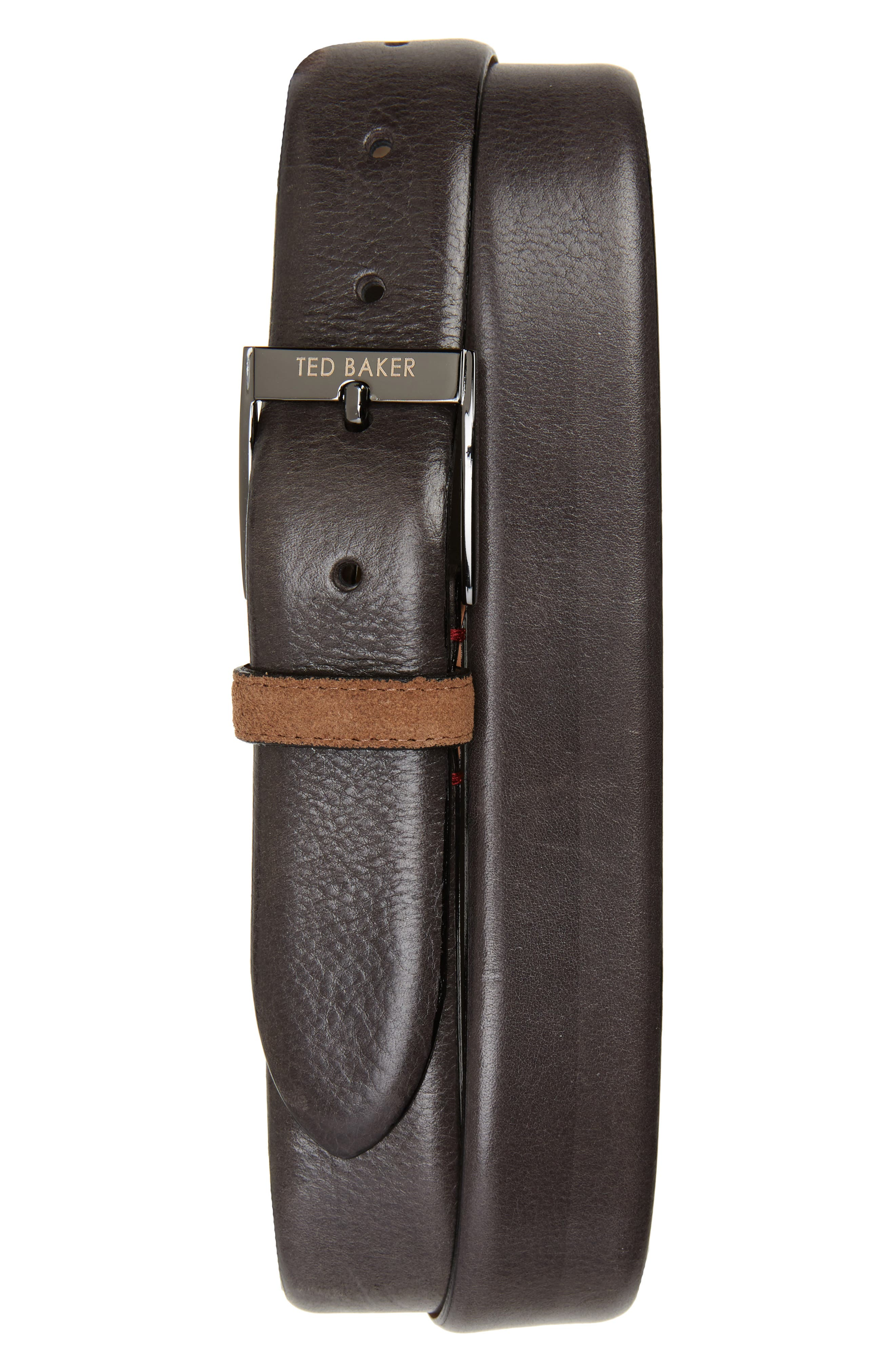 Pests Leather Belt,                         Main,                         color, Charcoal