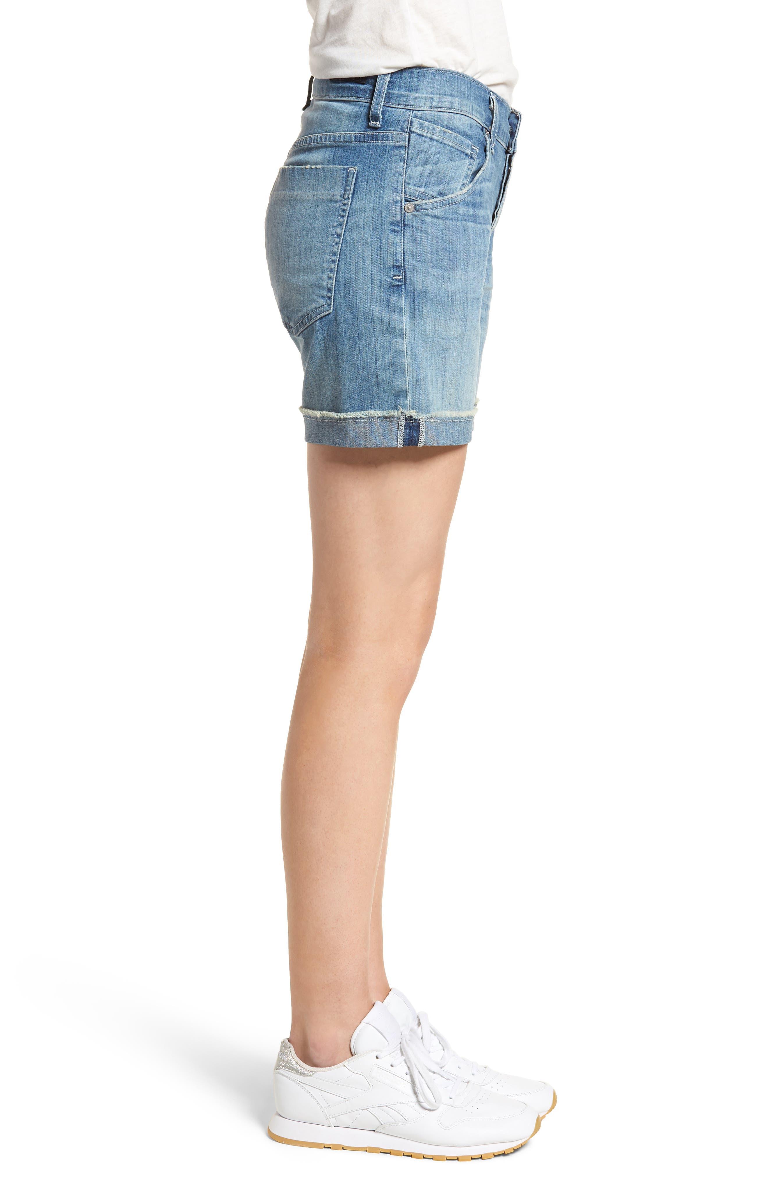 Skyler Denim Shorts,                             Alternate thumbnail 3, color,                             Mercury