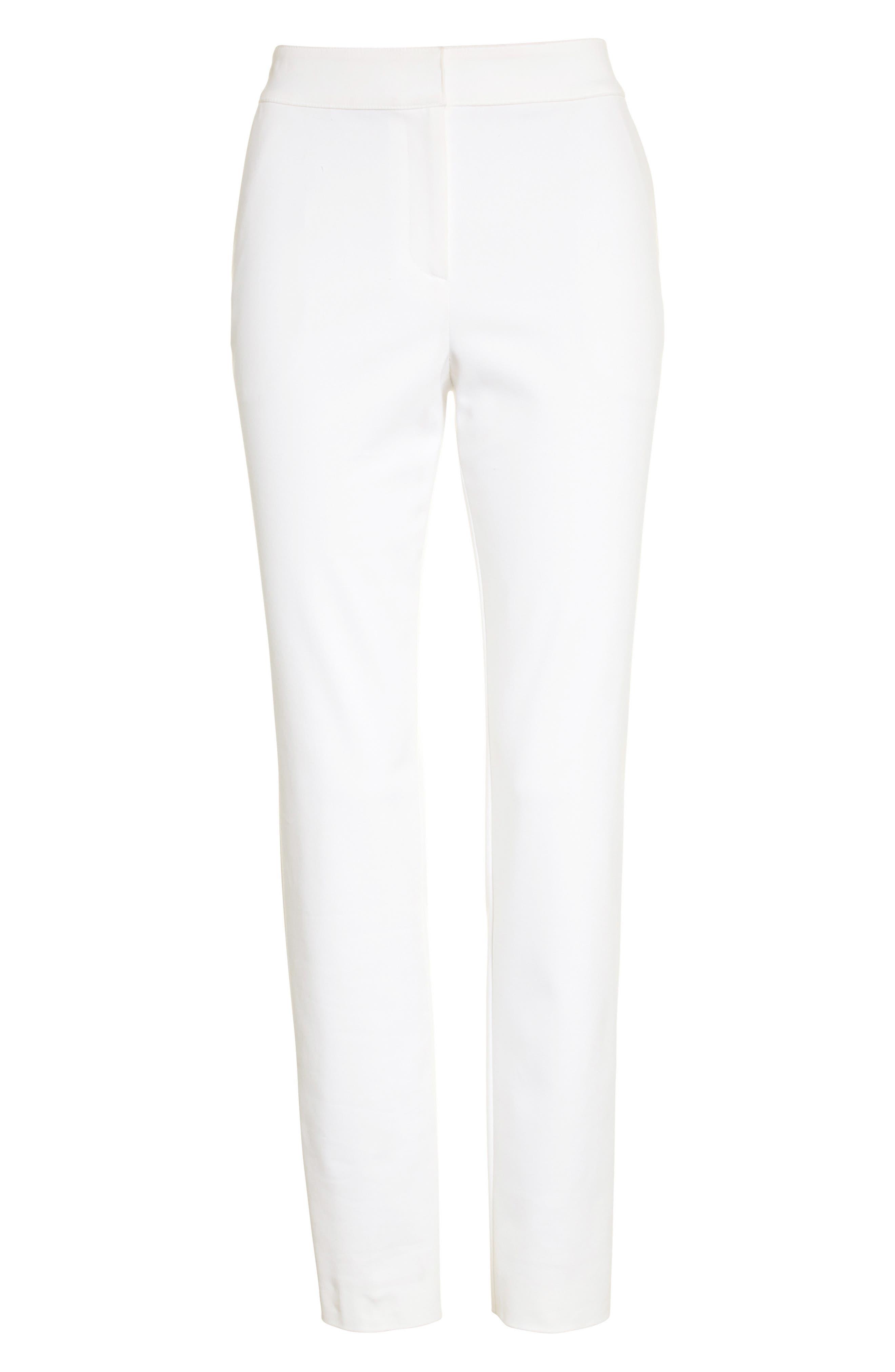 Emma Stretch Micro Ottoman Crop Pants,                             Alternate thumbnail 7, color,                             Bianco