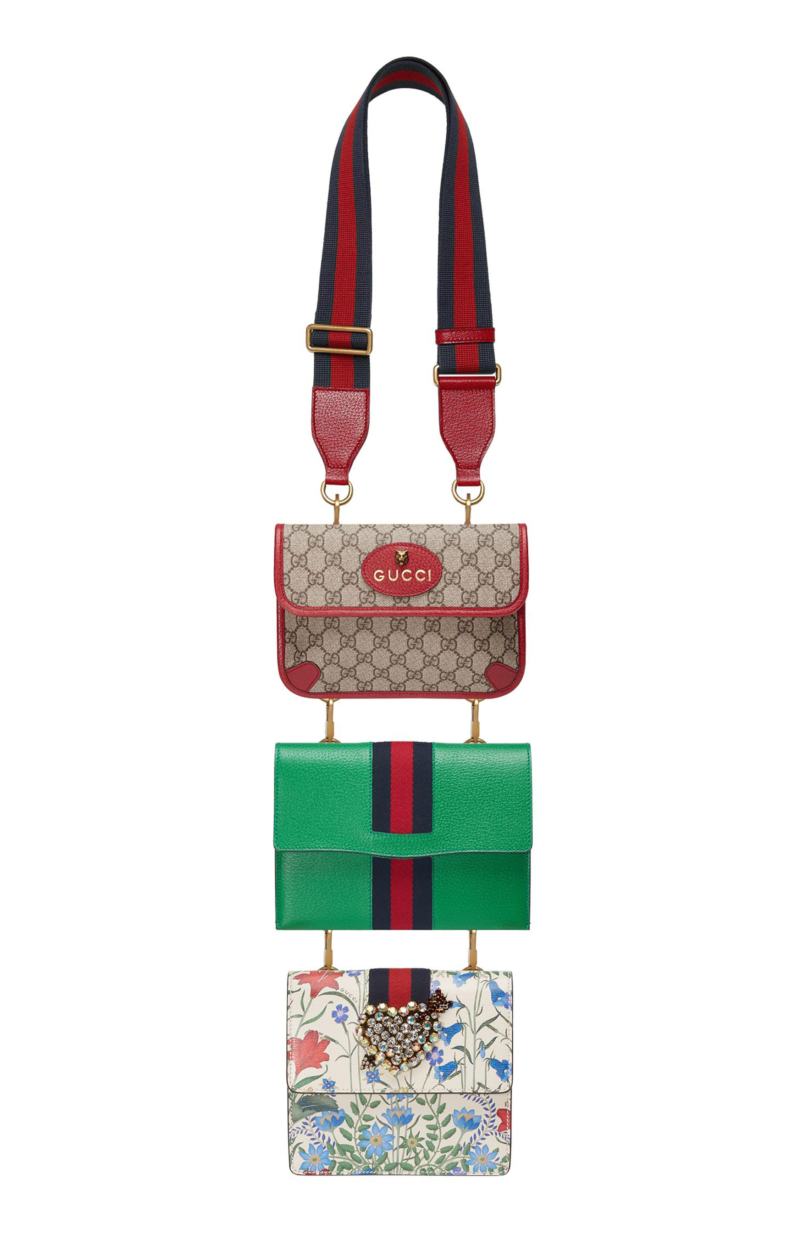 Totem Four-in-One Leather & Canvas Shoulder Bag,                         Main,                         color, Brown/ Green/ Red