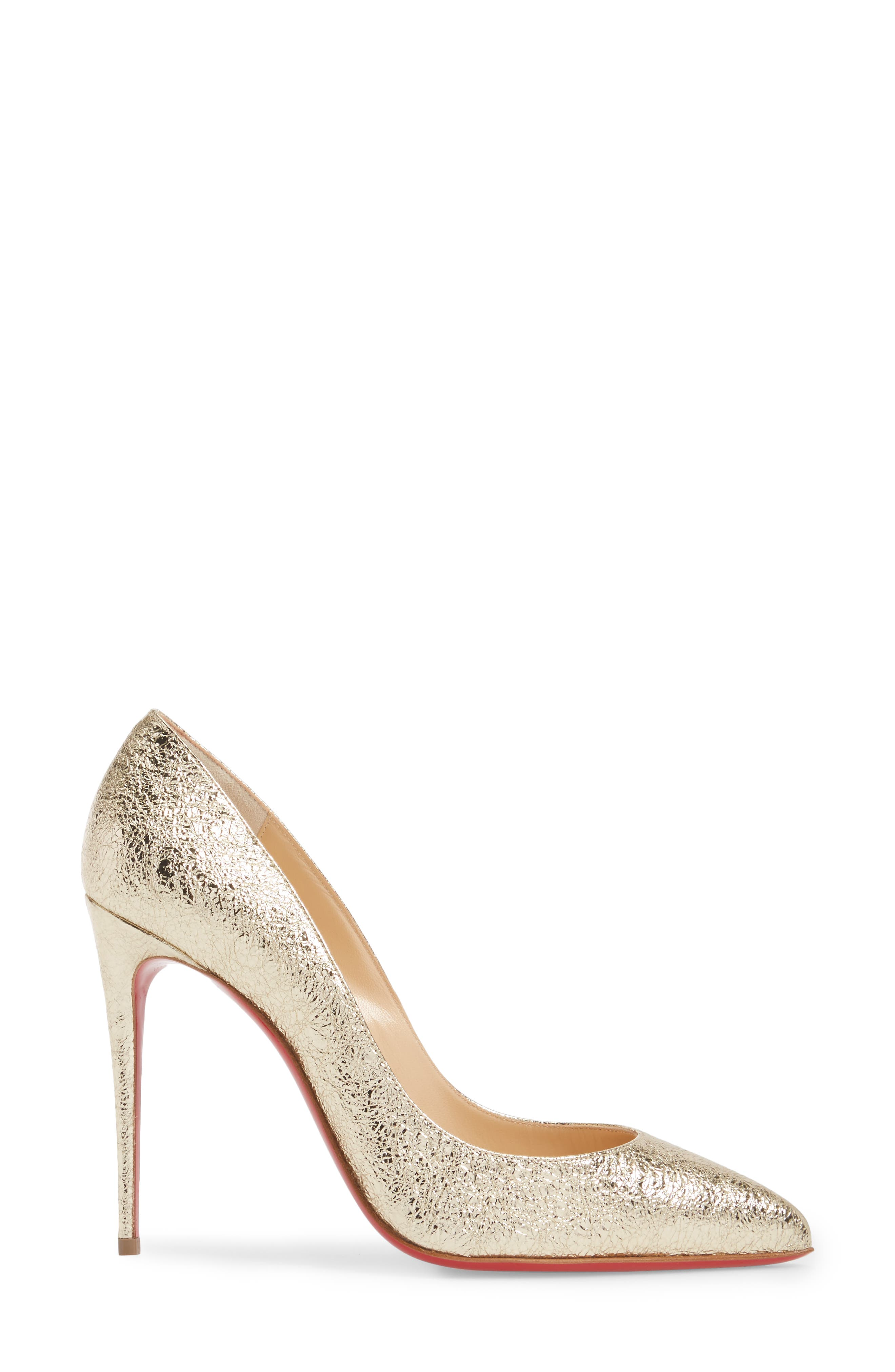 Pigalle Follies Pointy Toe Pump,                             Alternate thumbnail 3, color,                             Platine
