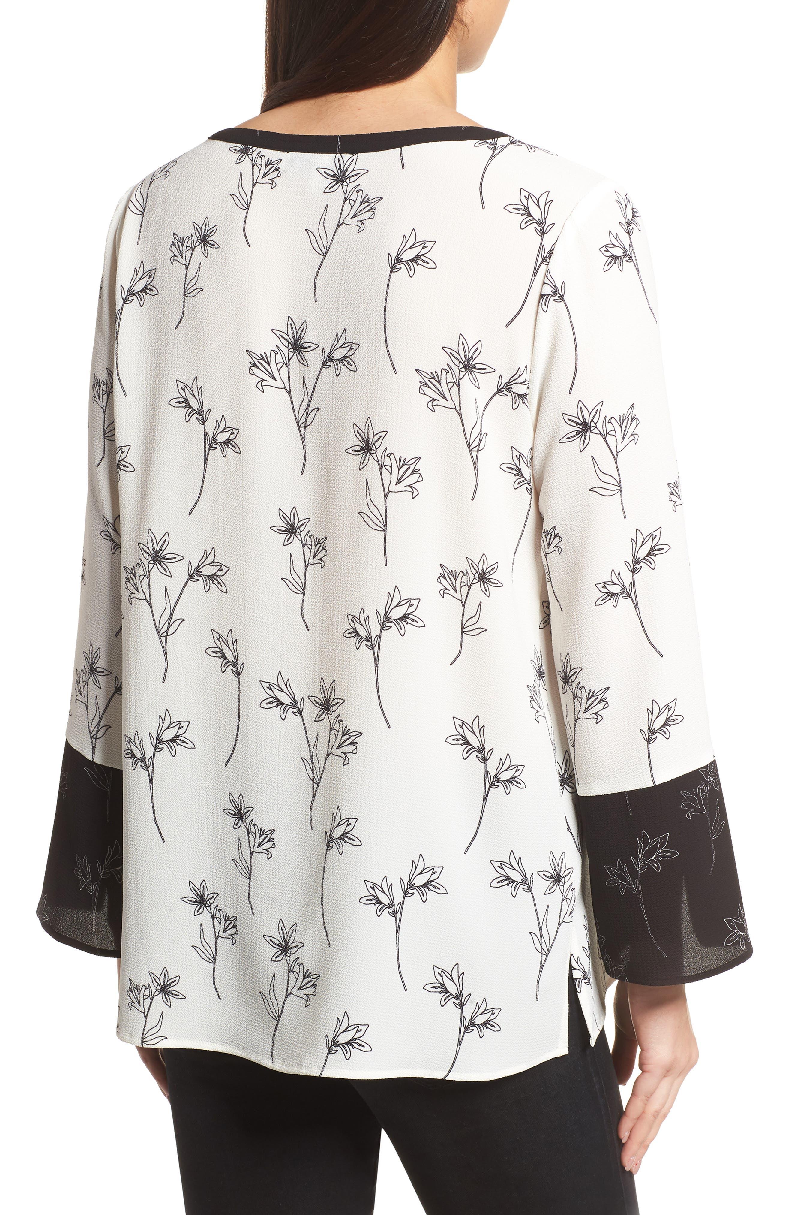 Floral Split Bell Sleeve Blouse,                             Alternate thumbnail 2, color,                             060-Rich Black