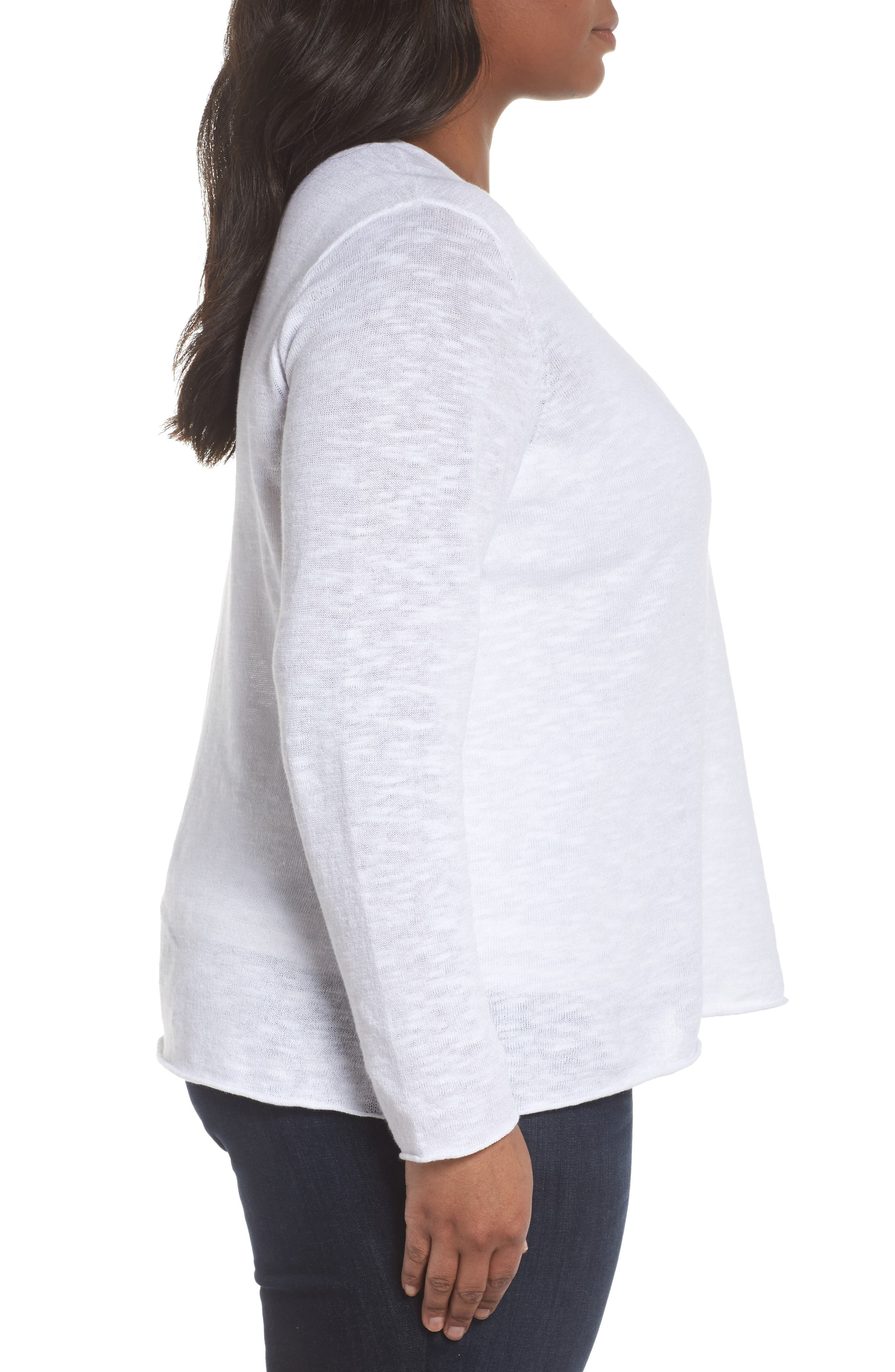 Boxy Organic Linen & Cotton Sweater,                             Alternate thumbnail 3, color,                             White