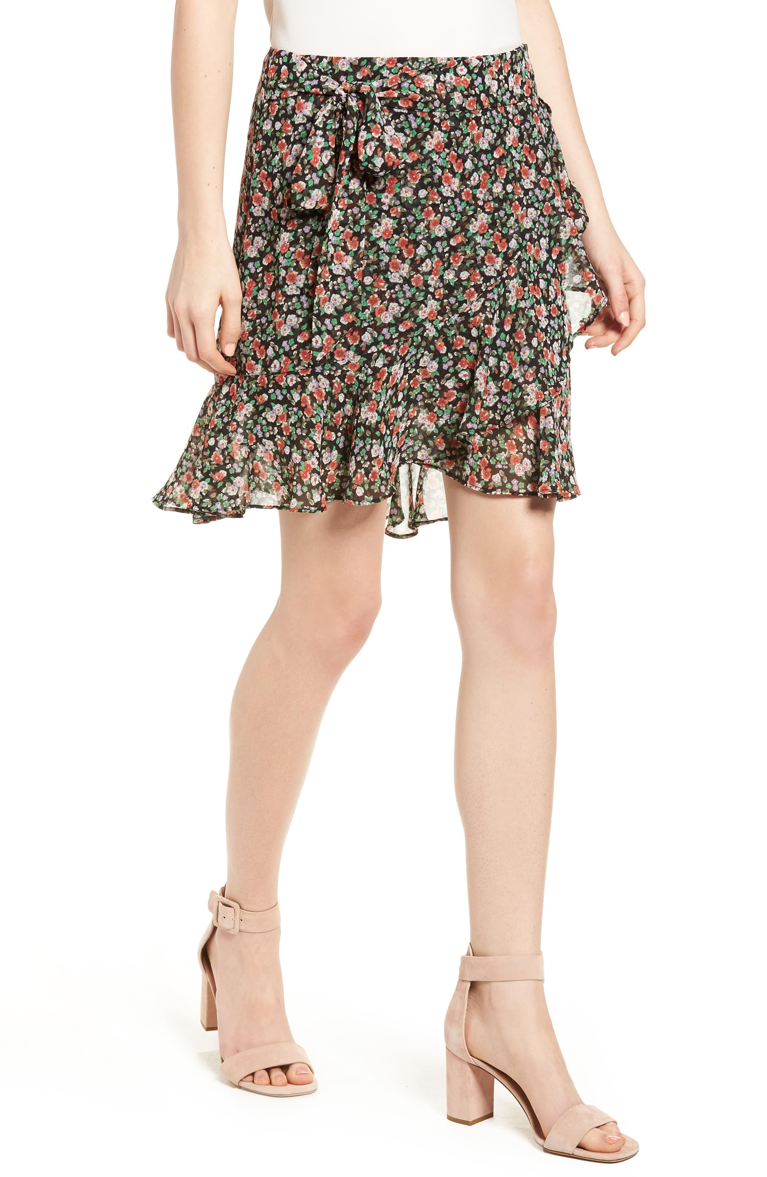 Alice Faux Wrap Skirt,                             Main thumbnail 1, color,                             Black Multi