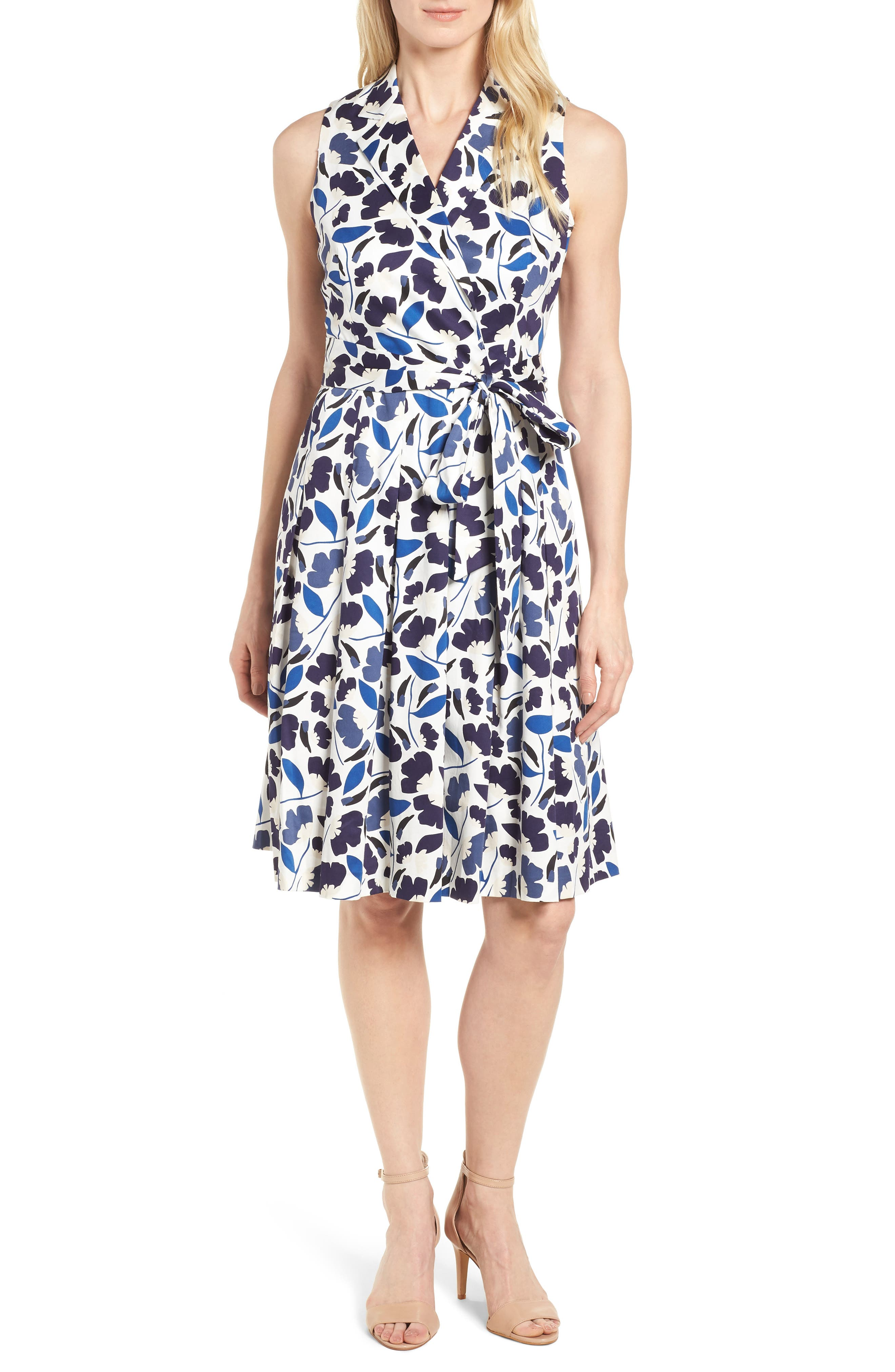 New York Humboldt Cotton Sateen Dress,                             Main thumbnail 1, color,                             Monaco Combo