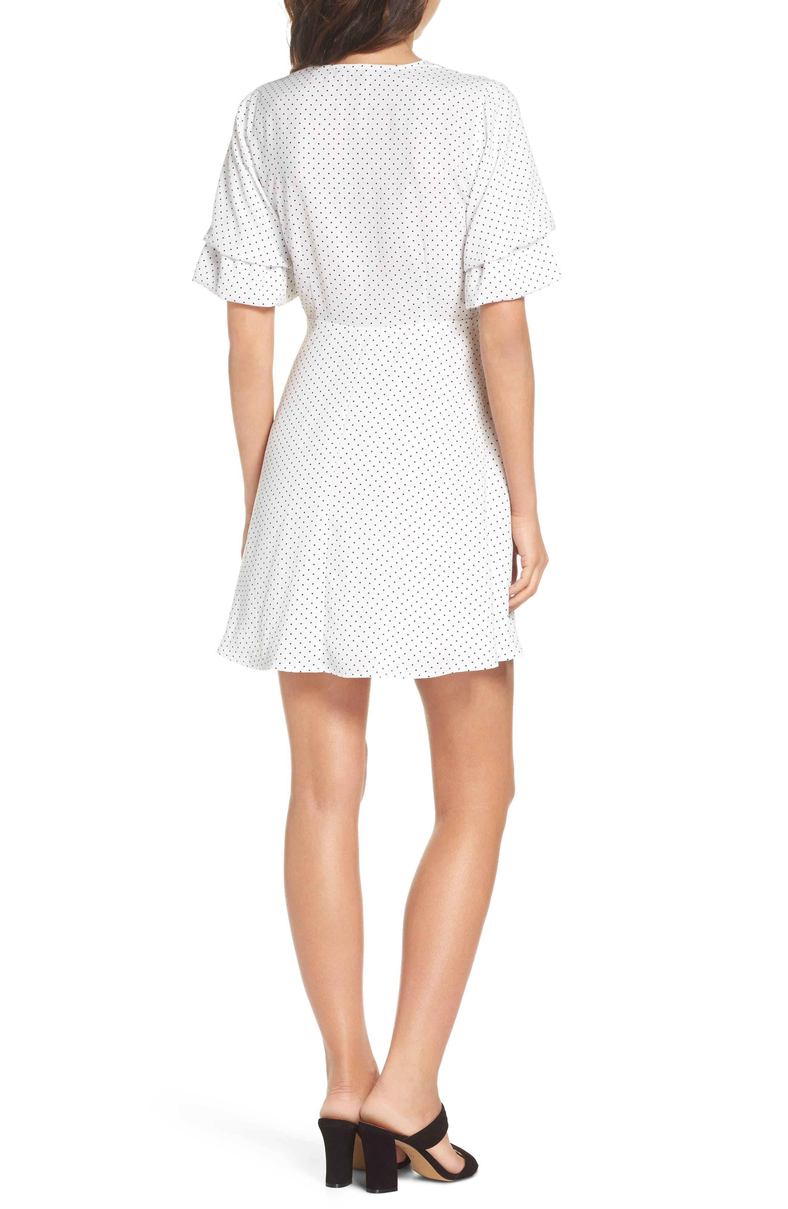 Polka Dot Faux Wrap Dress,                             Alternate thumbnail 2, color,                             White/ Black