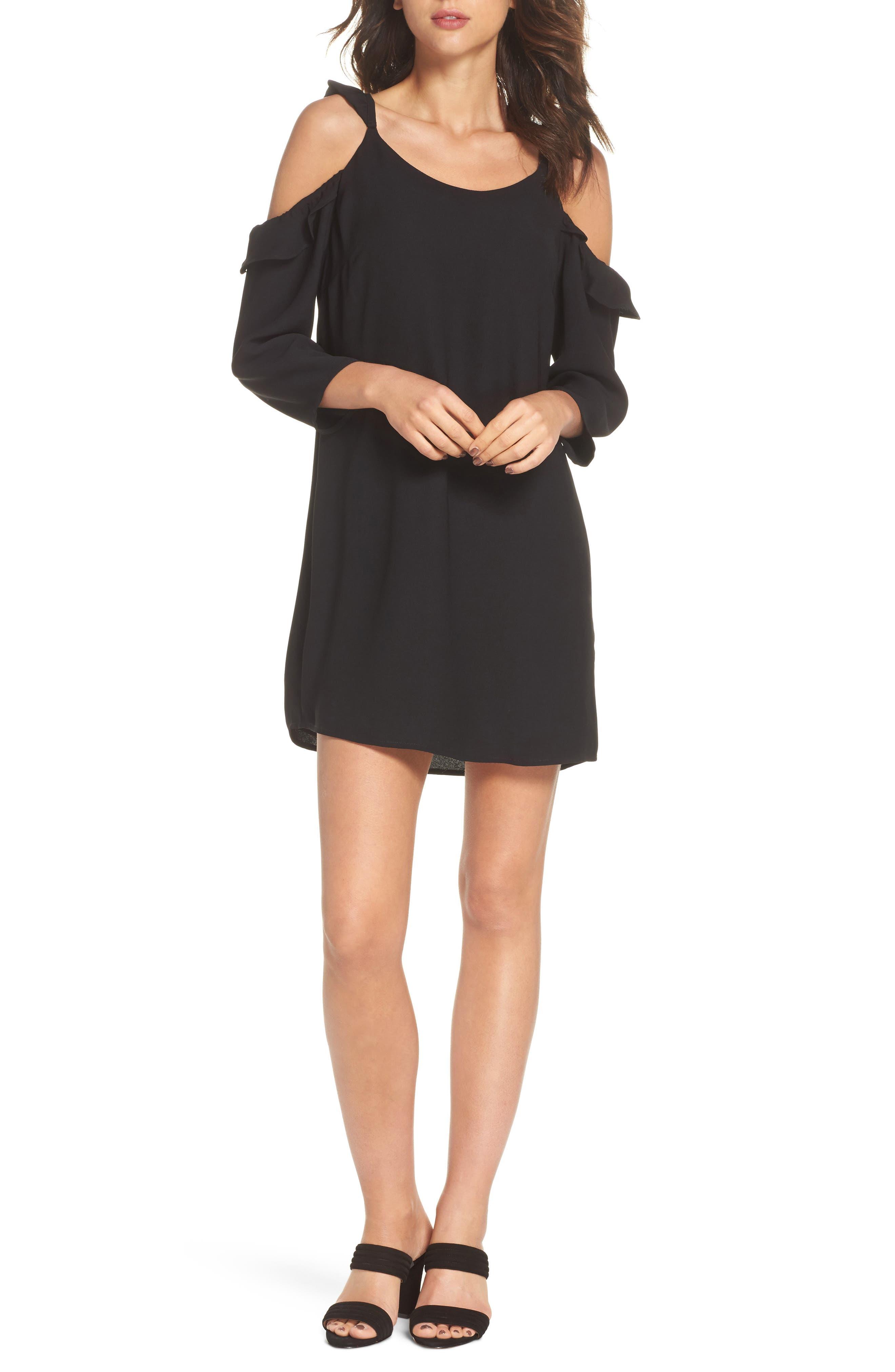 Ruffle Cold Shoulder Dress,                             Main thumbnail 1, color,                             Black