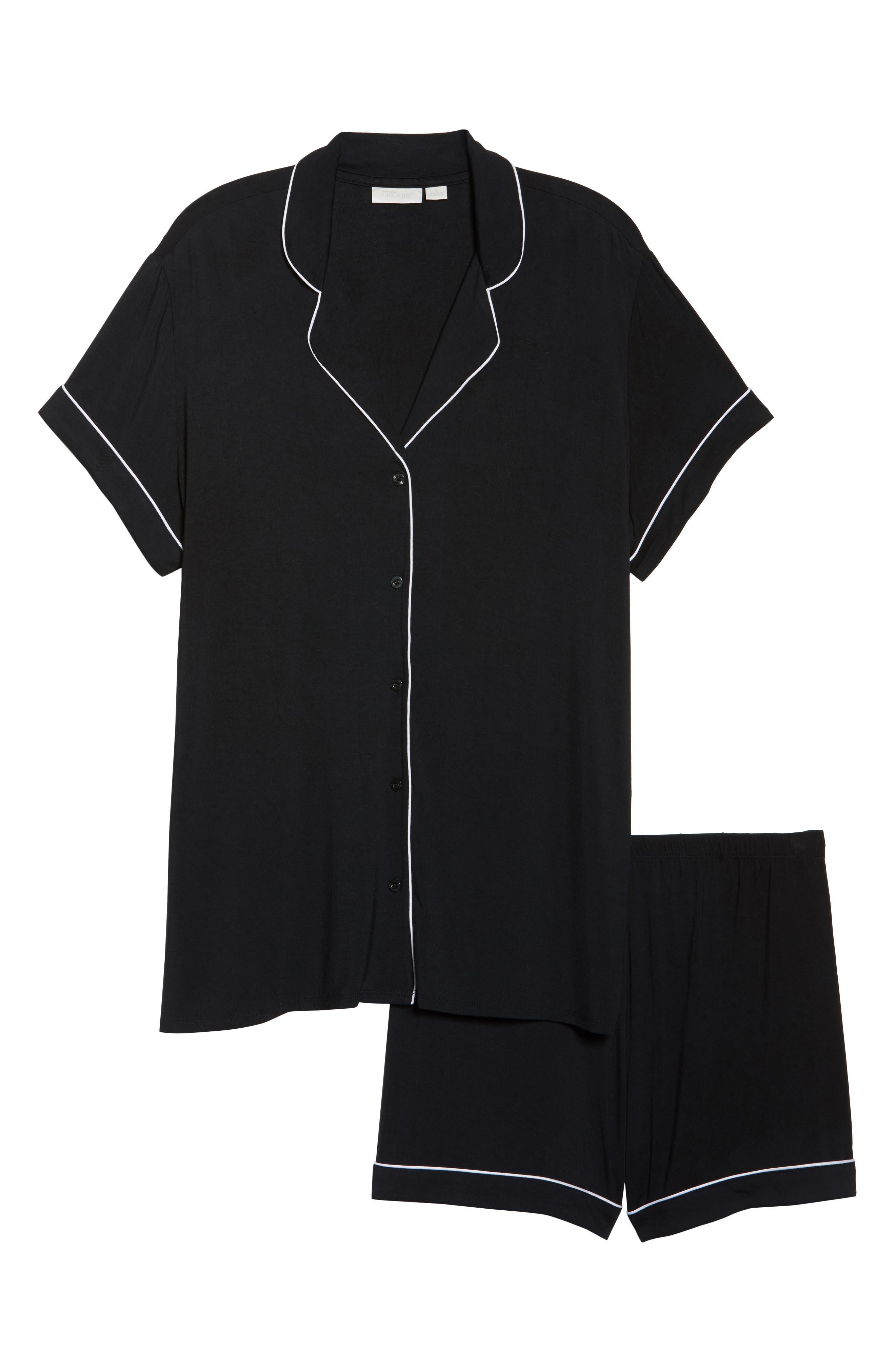'Moonlight' Short Pajamas,                             Alternate thumbnail 6, color,                             Black