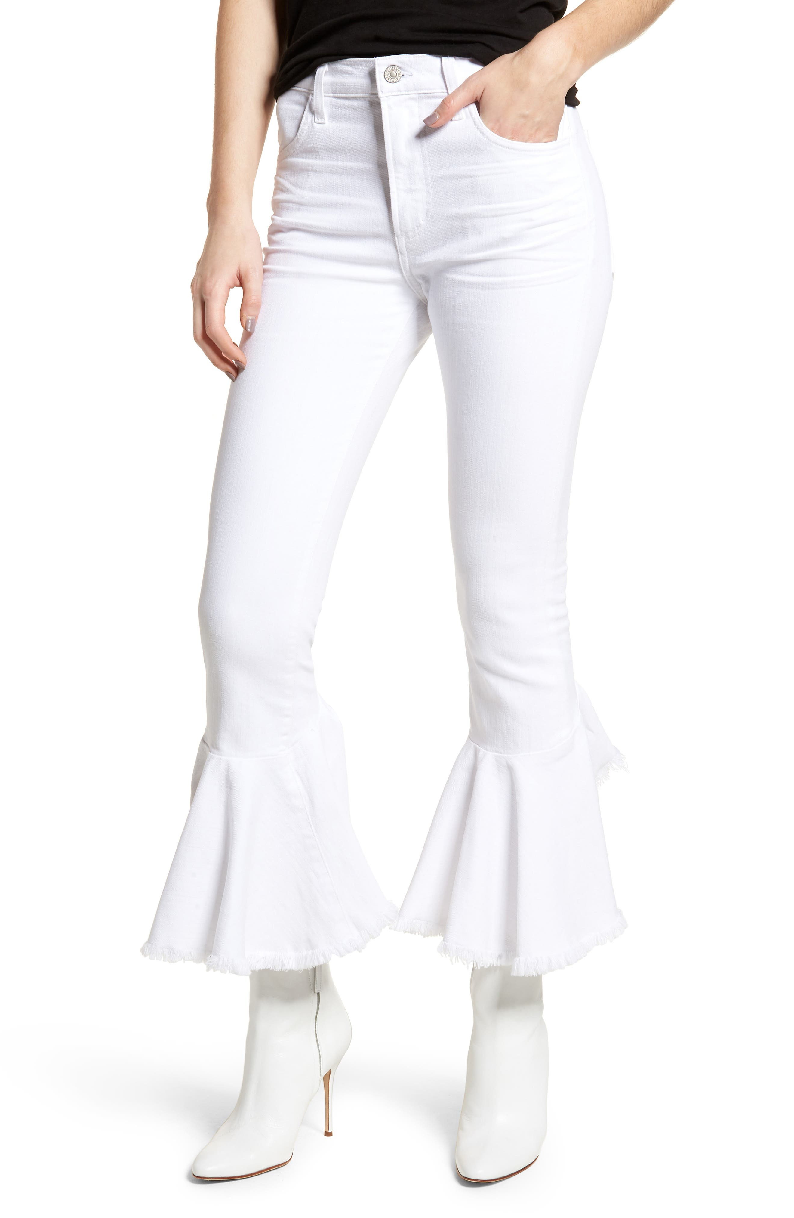 Citizens of Humanity Drew Flounce Hem Crop Jeans (Optic White)