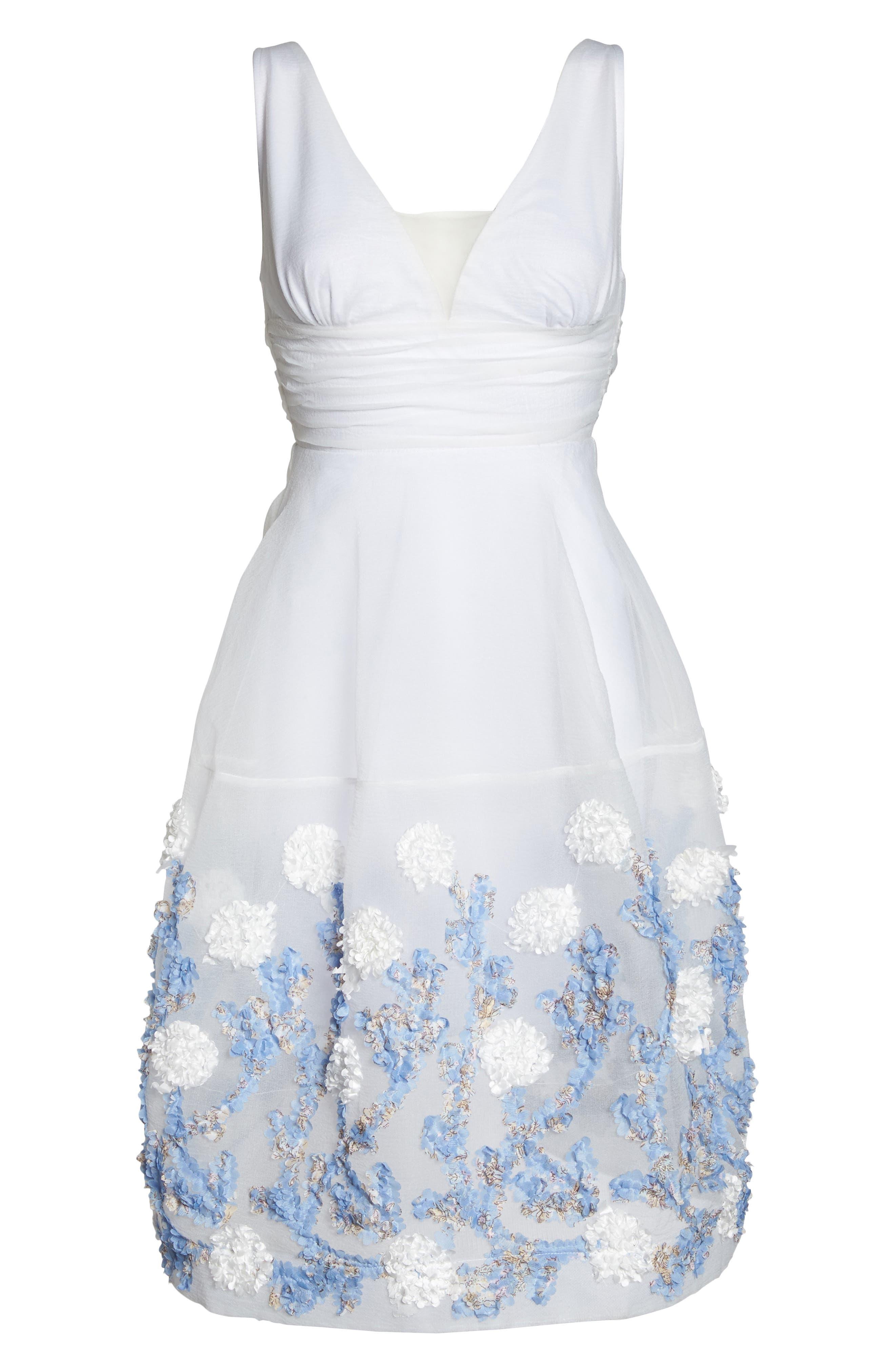 Malvina Embroidered Hem Fit & Flare Dress,                             Alternate thumbnail 5, color,                             White/ Blue