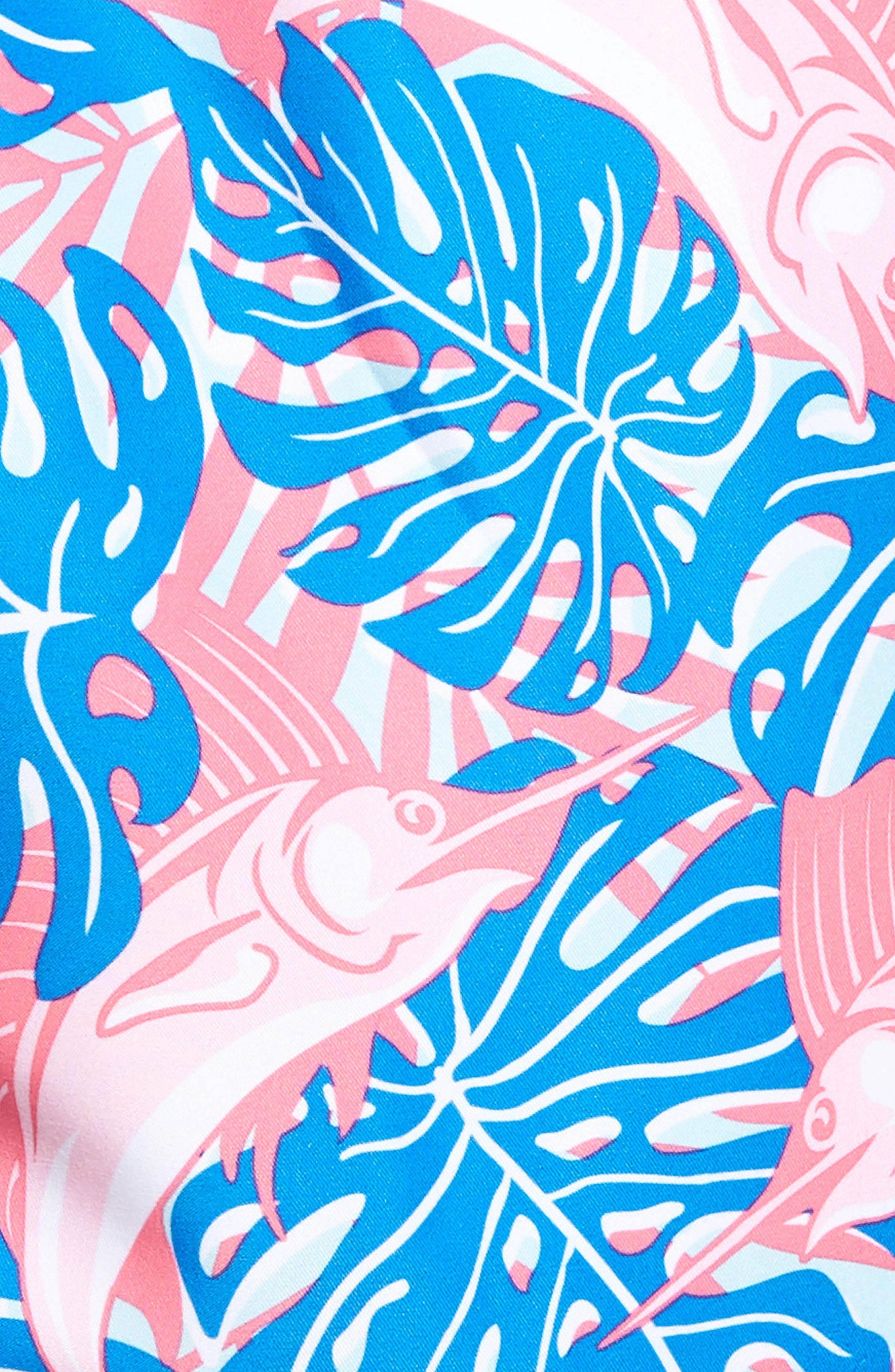 Sailfish & Leaves Chappy Swim Trunks,                             Alternate thumbnail 5, color,                             Azure Blue