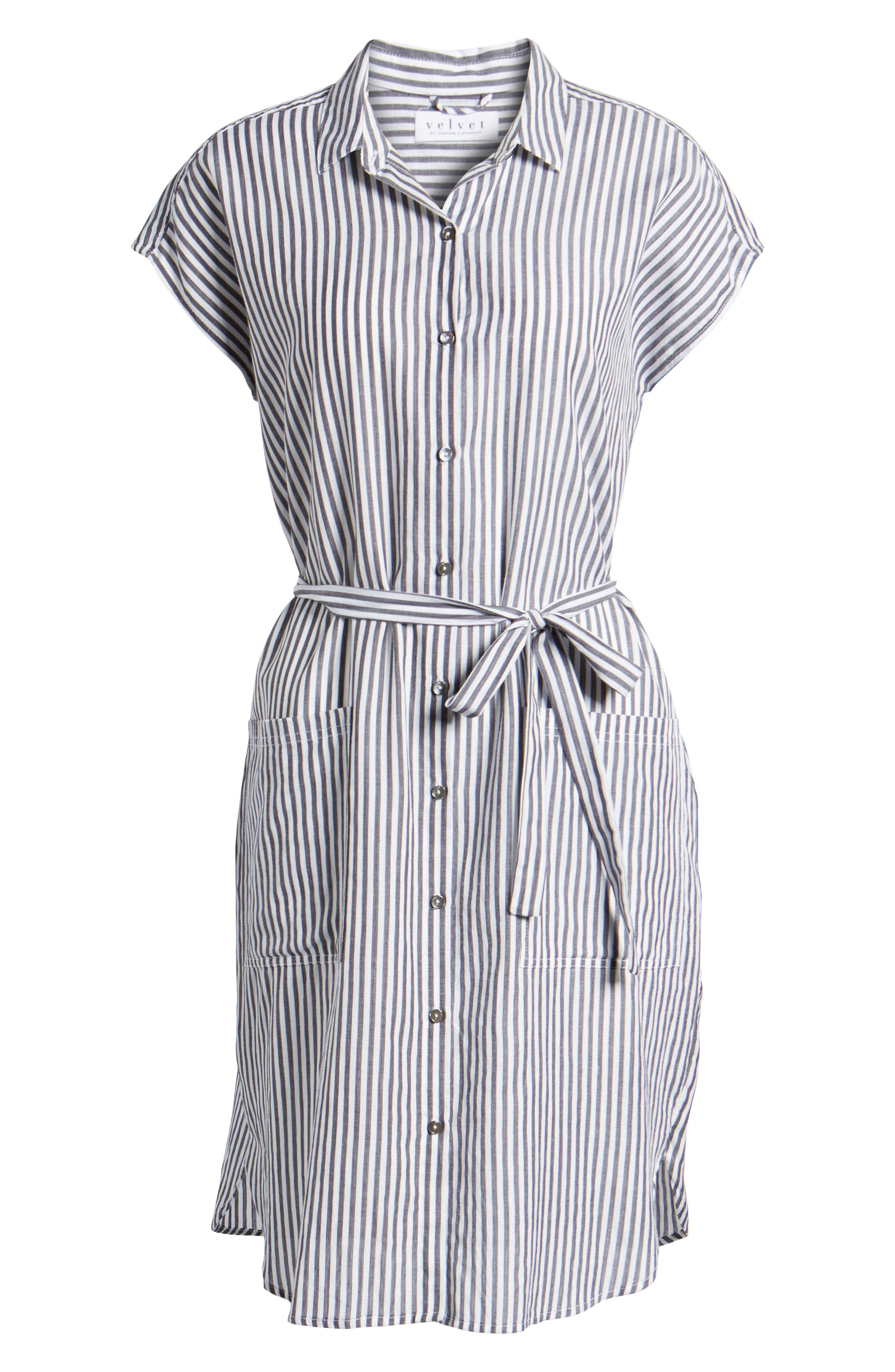 Stripe Belted Cotton Shirtdress,                             Alternate thumbnail 6, color,                             Charcoal Grey