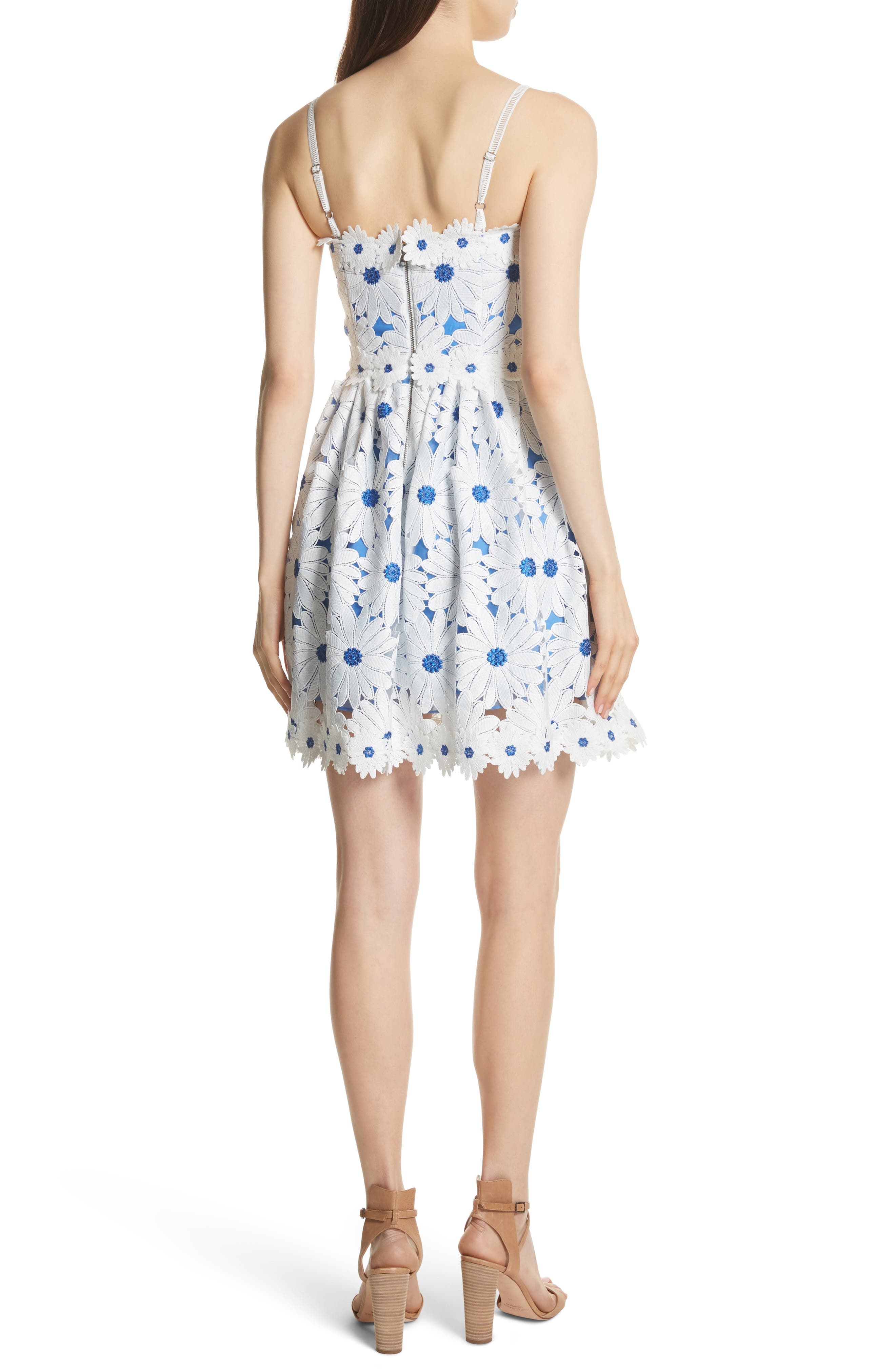 Vandy Lace Minidress,                             Alternate thumbnail 2, color,                             White/ Blue