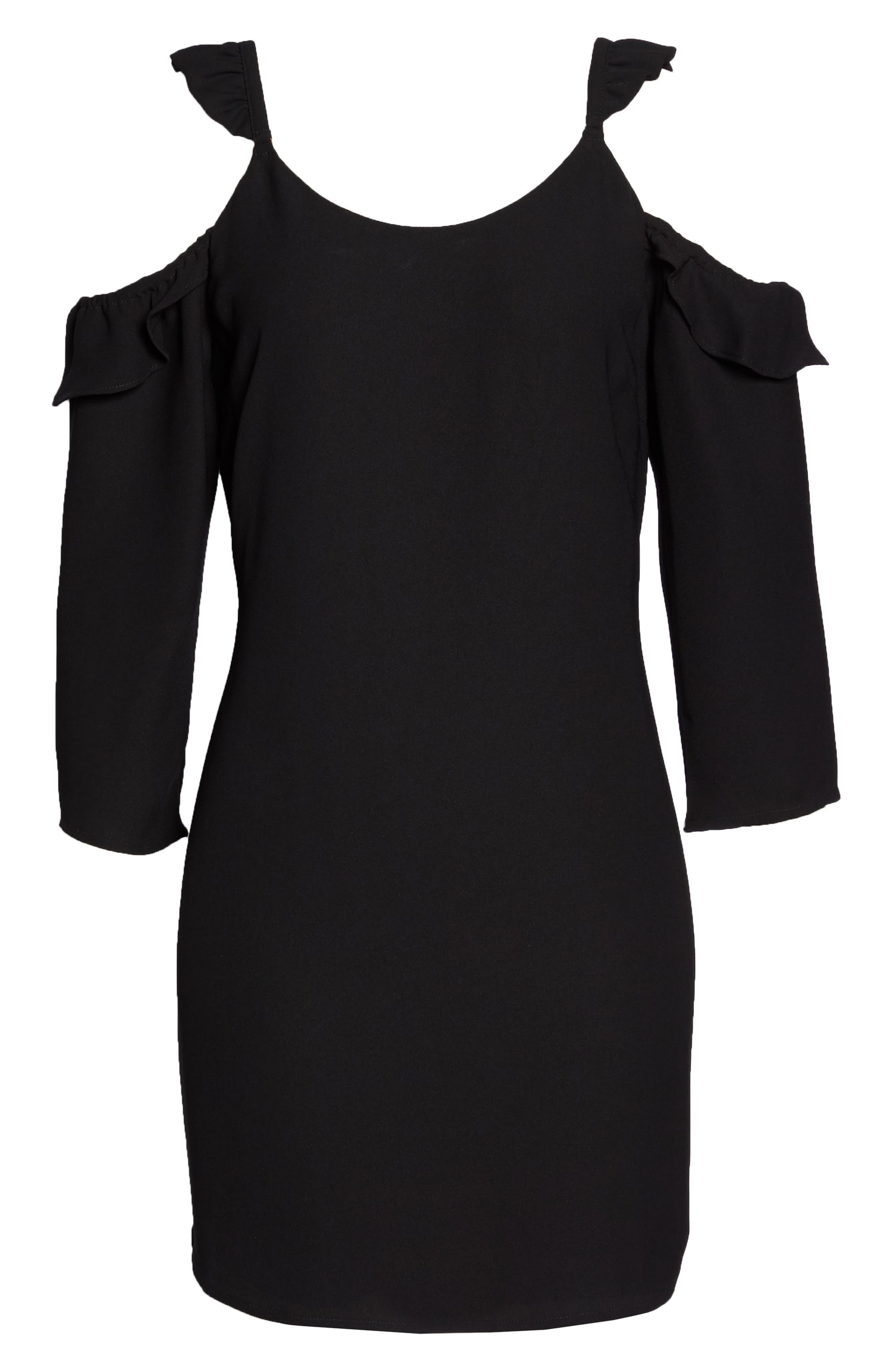 Ruffle Cold Shoulder Dress,                             Alternate thumbnail 7, color,                             Black