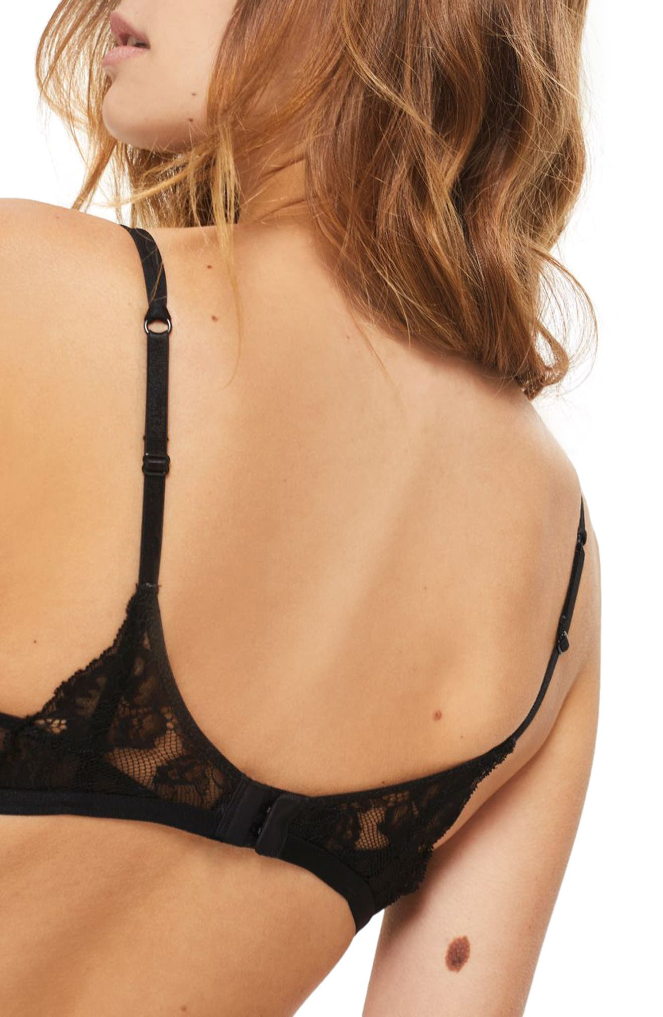 Lace Bralette,                             Alternate thumbnail 2, color,                             Black