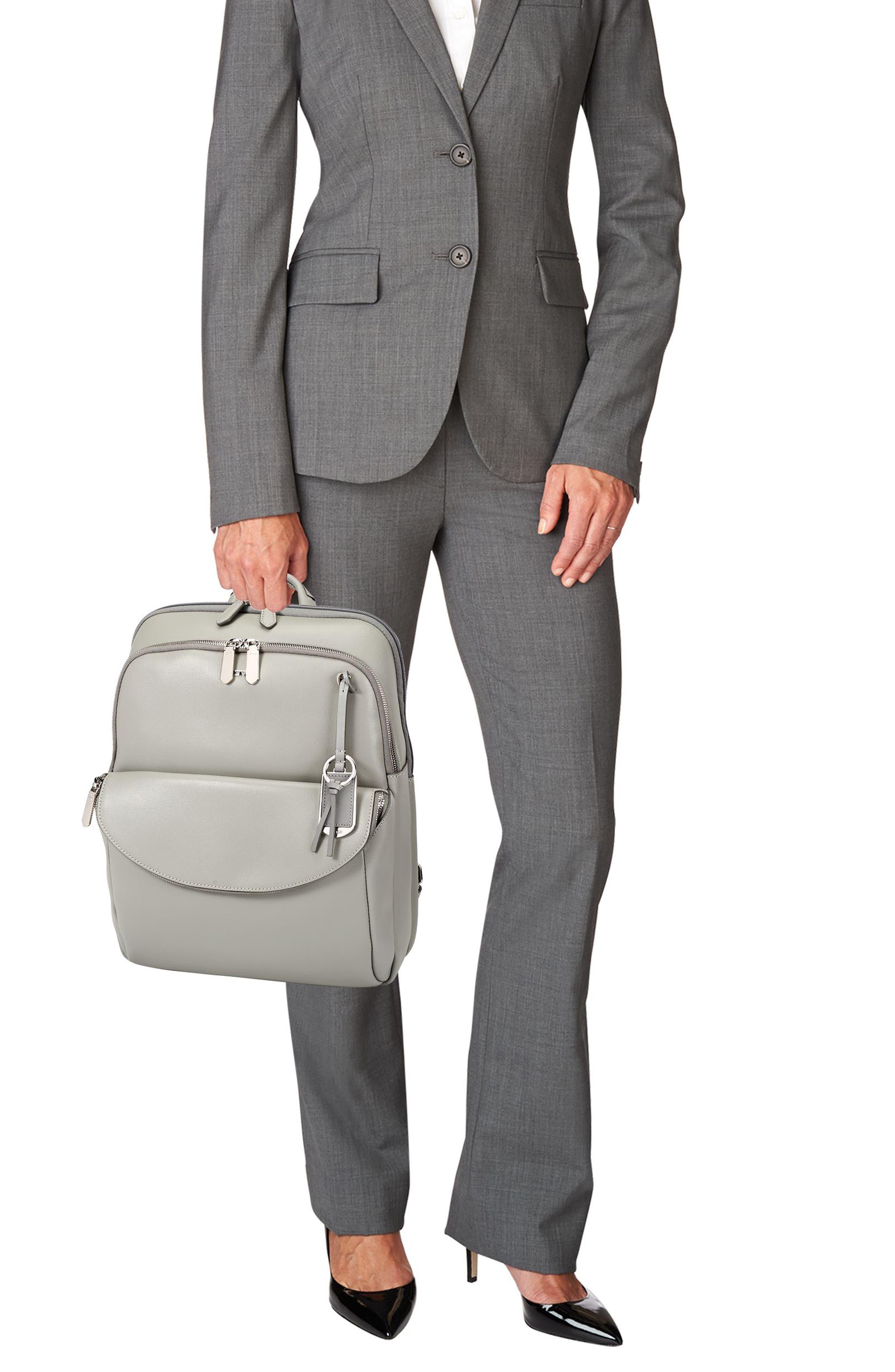 Stanton Hettie Leather Backpack,                             Alternate thumbnail 2, color,                             Light Grey
