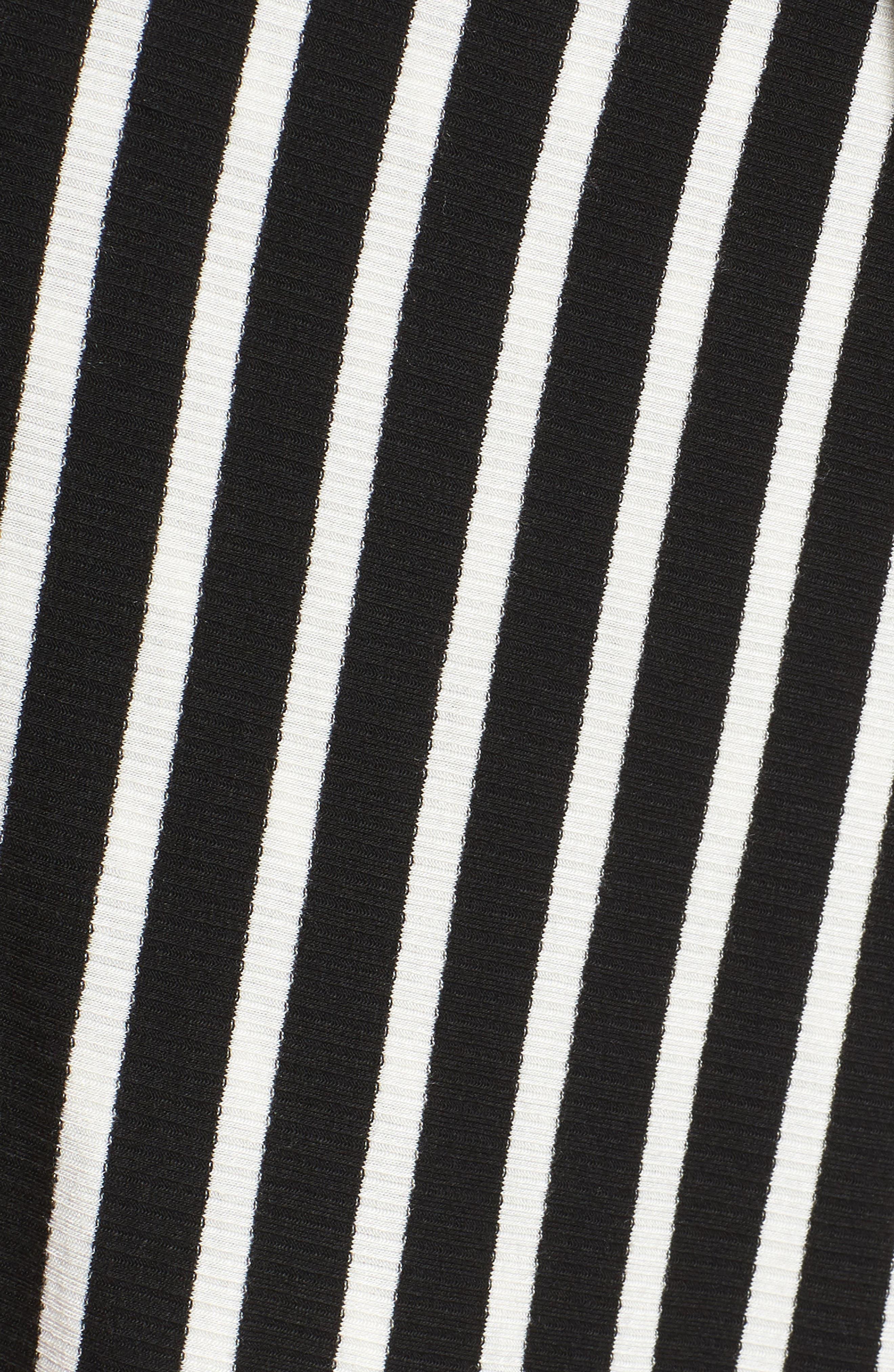 Ribbed Stripe Wrap Dress,                             Alternate thumbnail 5, color,                             Black/ White Stripe