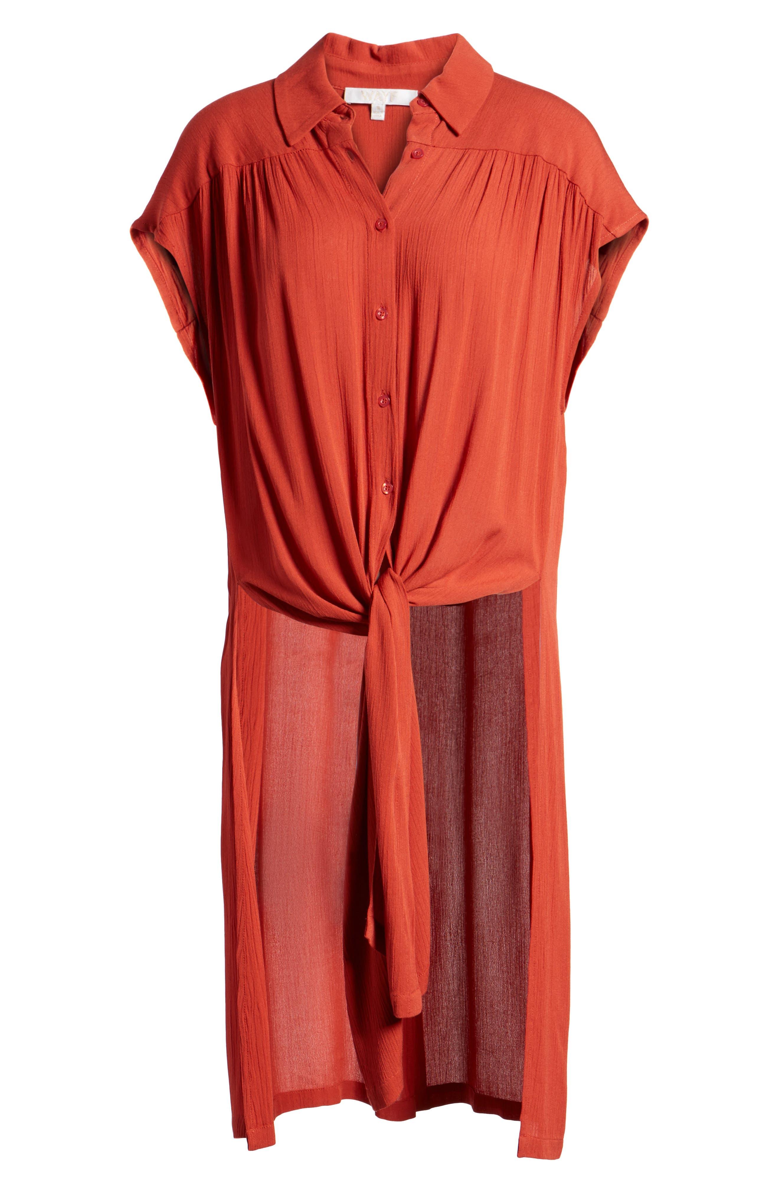 Potenza Tie Waist Tunic,                             Alternate thumbnail 7, color,                             Rust