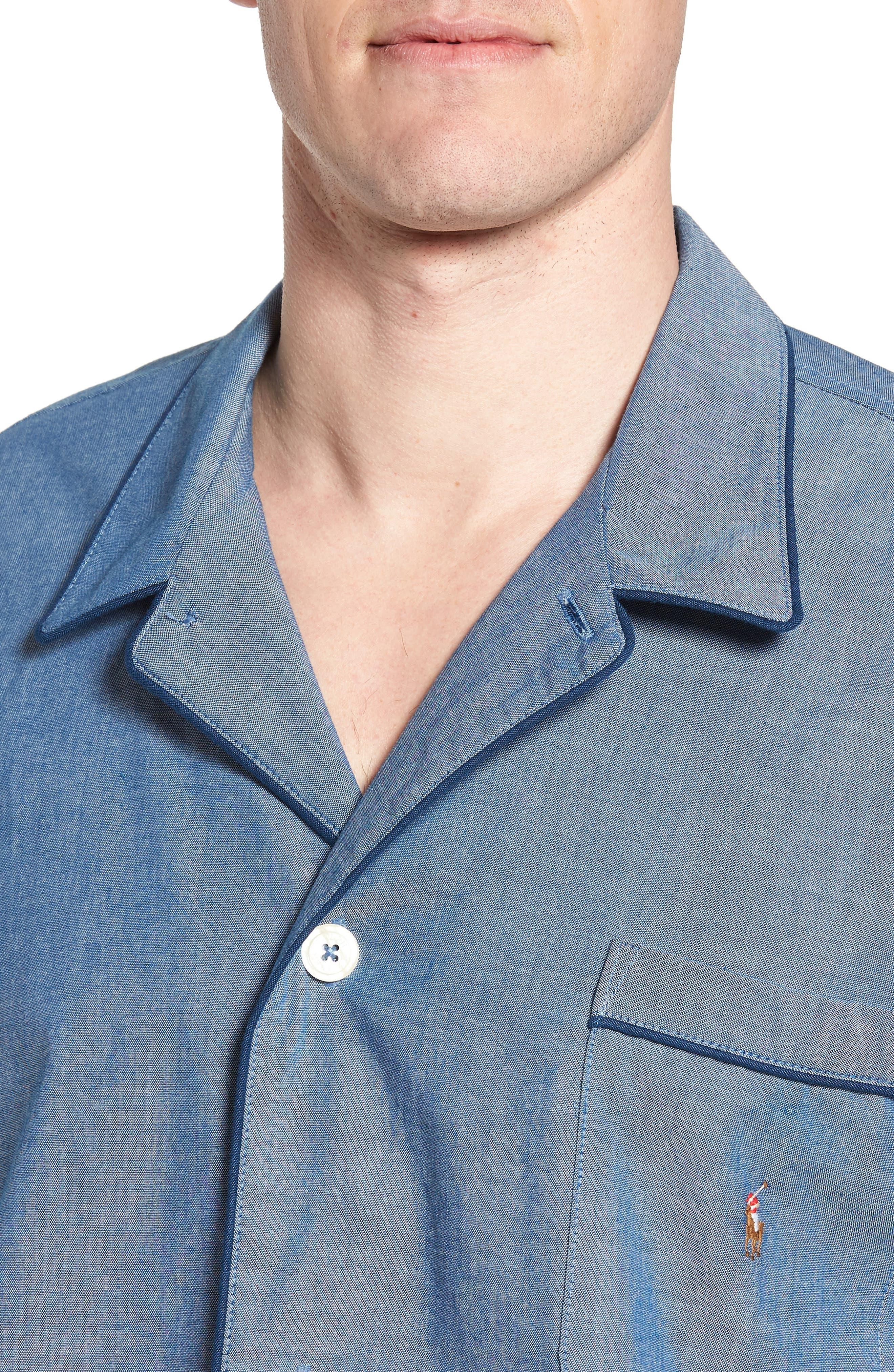 Cotton Pajama Shirt,                             Alternate thumbnail 4, color,                             Medium Indigo/ Dark Indigo